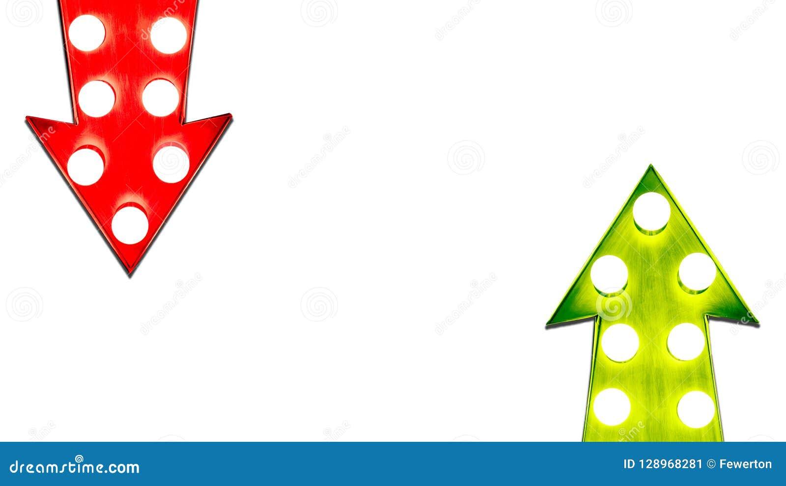 Röda för- och nackdelar och den gröna vänstra rätten upp ner retro metallpilar för tappning exponerade ljusa kulor