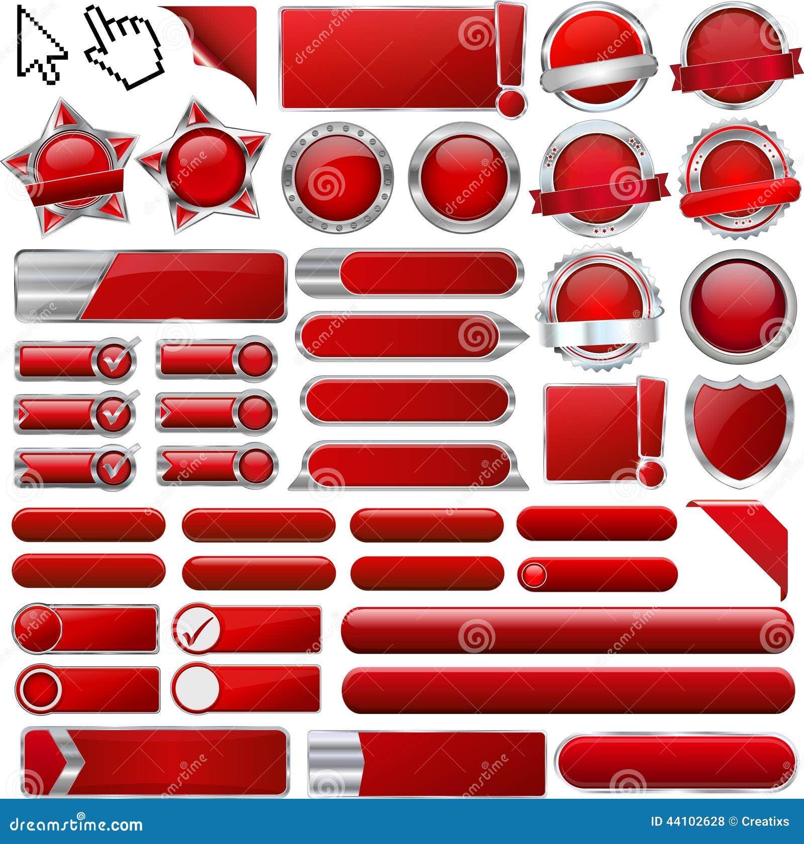 Röda glansiga rengöringsduksymboler och knappar