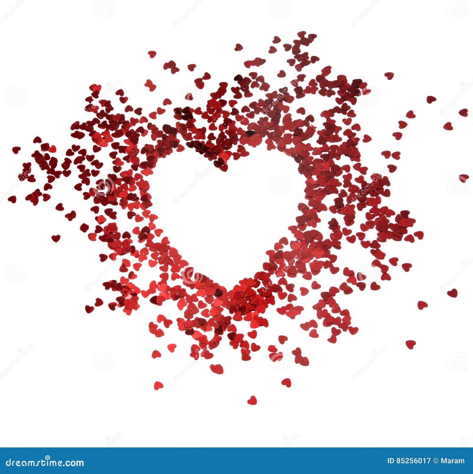 Röda hjärtor blänker ramen med vit bakgrund, valentin, förälskelse, bröllop, förbindelsebegrepp