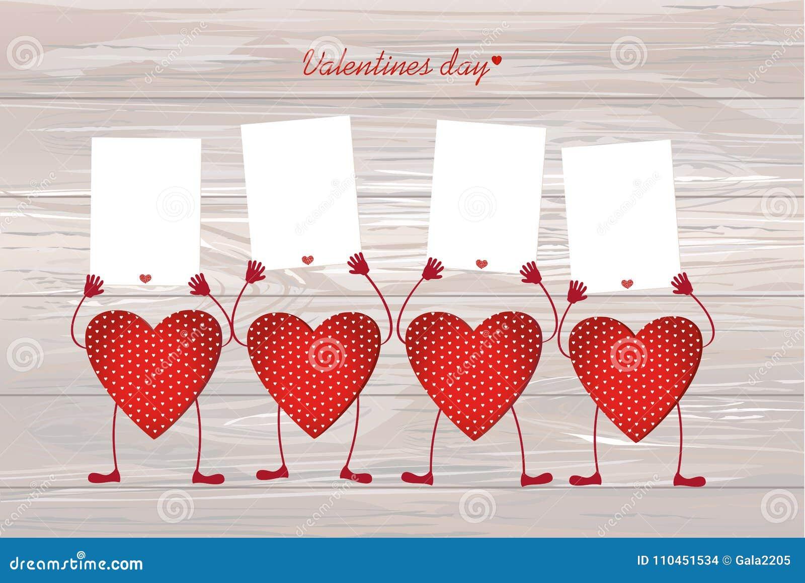 Röda hjärtor med ben och händer som rymmer tomma mellanrumssidor för y