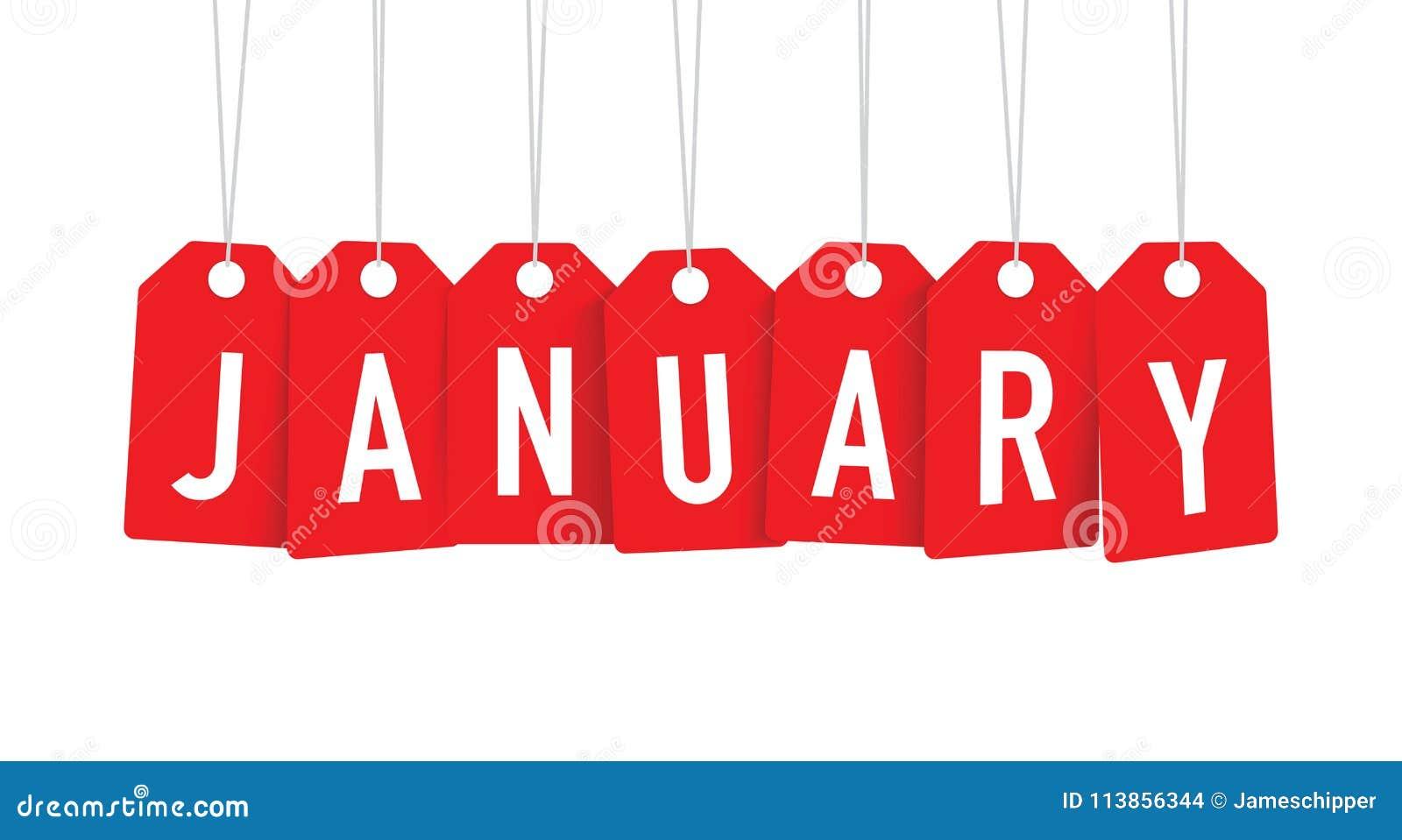 Röda Januari etiketter