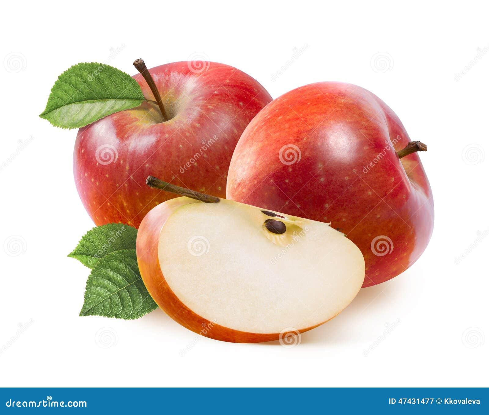 Röda Jonathan äpplen och fjärdedelskiva som isoleras på vit