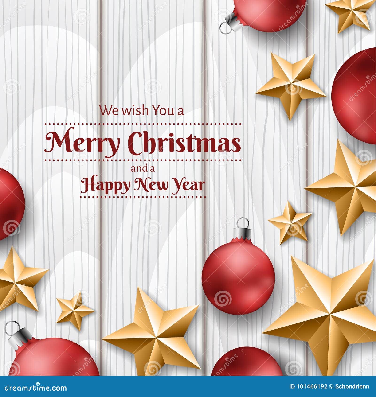 Röda julbollar och guld- stjärnor på vit wood textur, ram för jul
