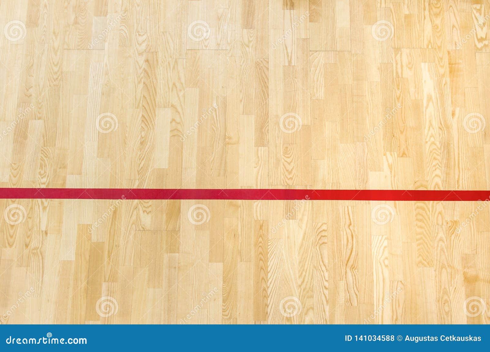Röda linjen på gymnastiksalgolvet för tilldelar sportdomstolen Badminton-, Futsal, volleyboll- och basketdomstol