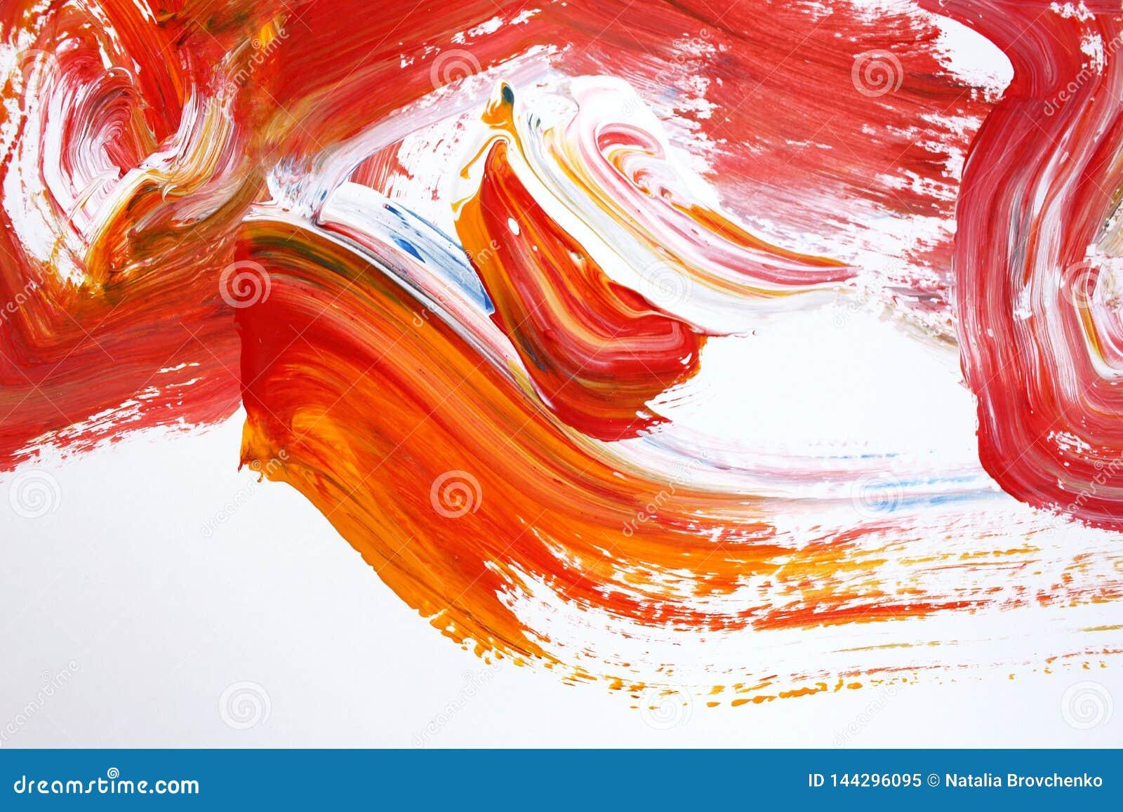 Röda ljusa slaglängder på kanfas abstrakt konstbakgrund Färgtextur Fragment av konstverk abstrakt kanfasmålning