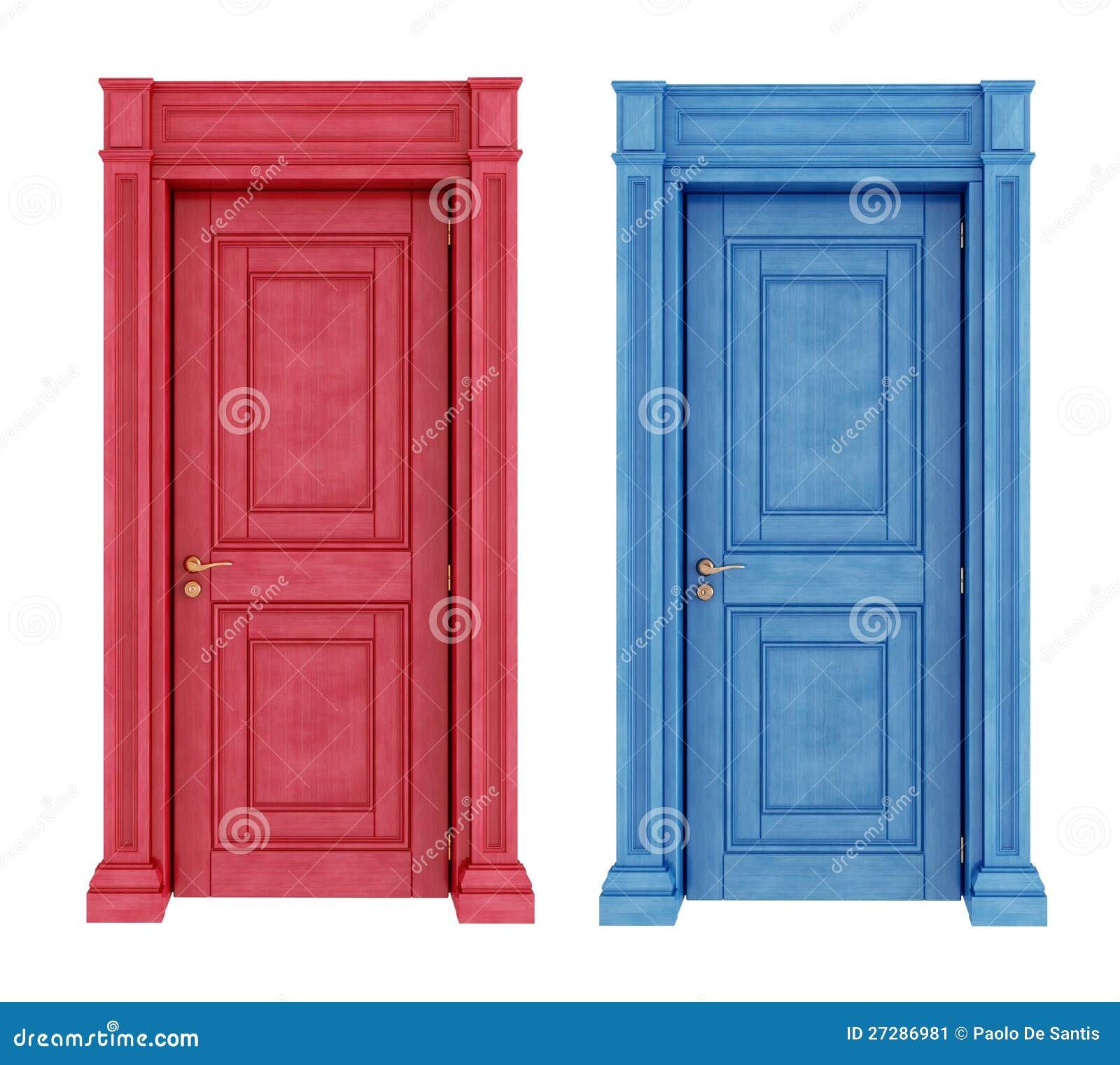 Röda och blåa dörrtappningdörrar