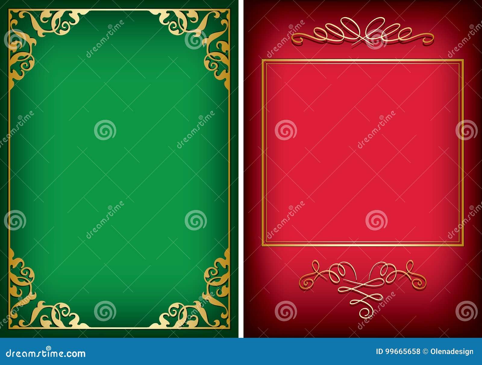 Röda och gröna bakgrunder med guld- dekorativa ramar - vektor