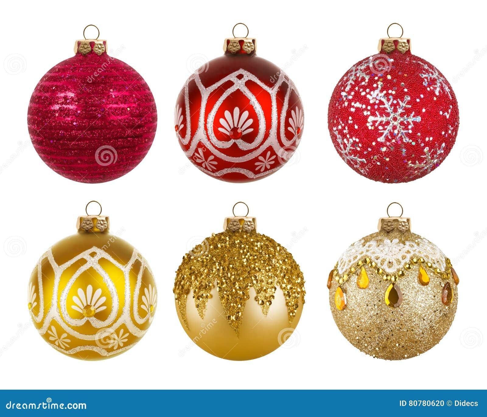 Röda och guld- färgrika julbollar som isoleras på vit bakgrund