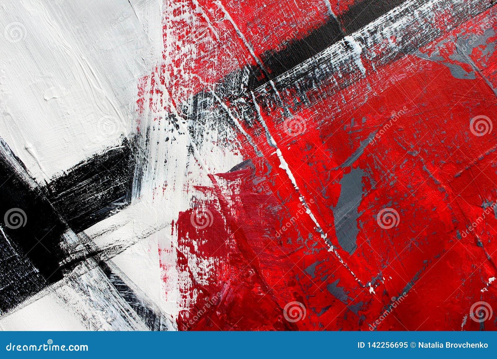 Röda och svarta färger på kanfas flod för målning för skogliggandeolja abstrakt konstbakgrund Oljemålning på kanfas Färgtextur Fr