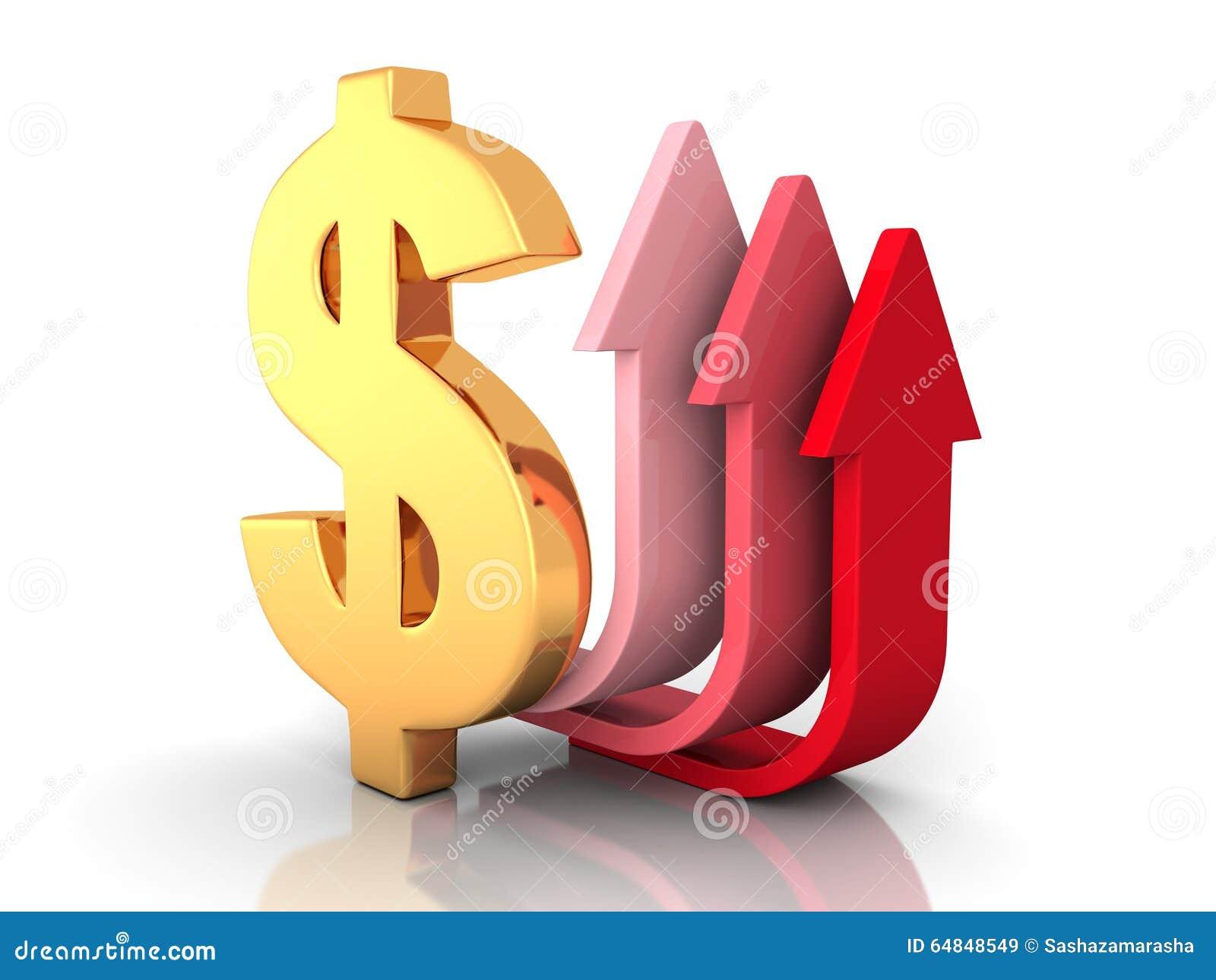 Röda pilar som uppåt flyttar sig med det guld- dollartecknet