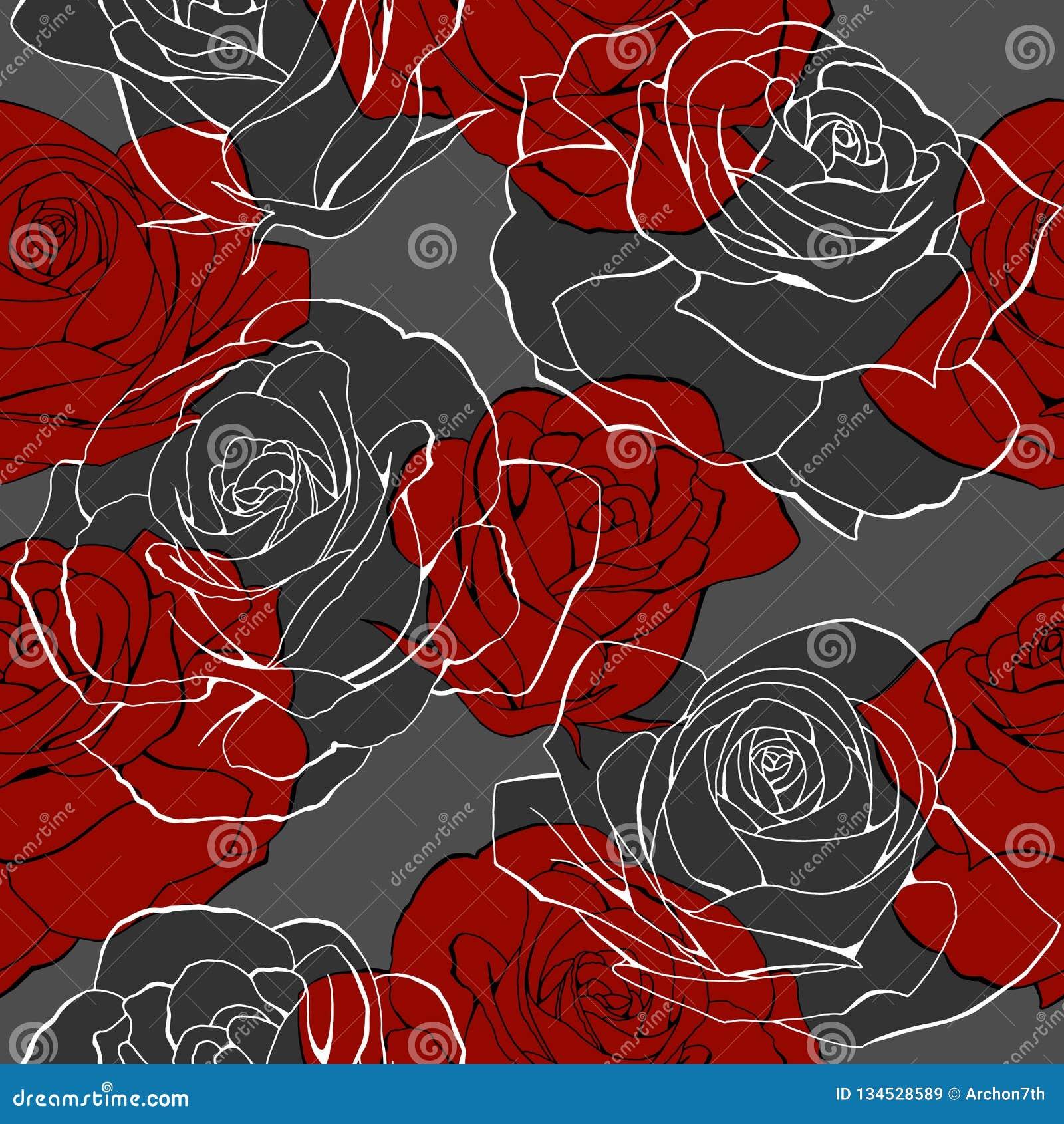 Röda rosa blommabuketter drar upp konturerna av den sömlösa modellen för beståndsdelar på grå färger