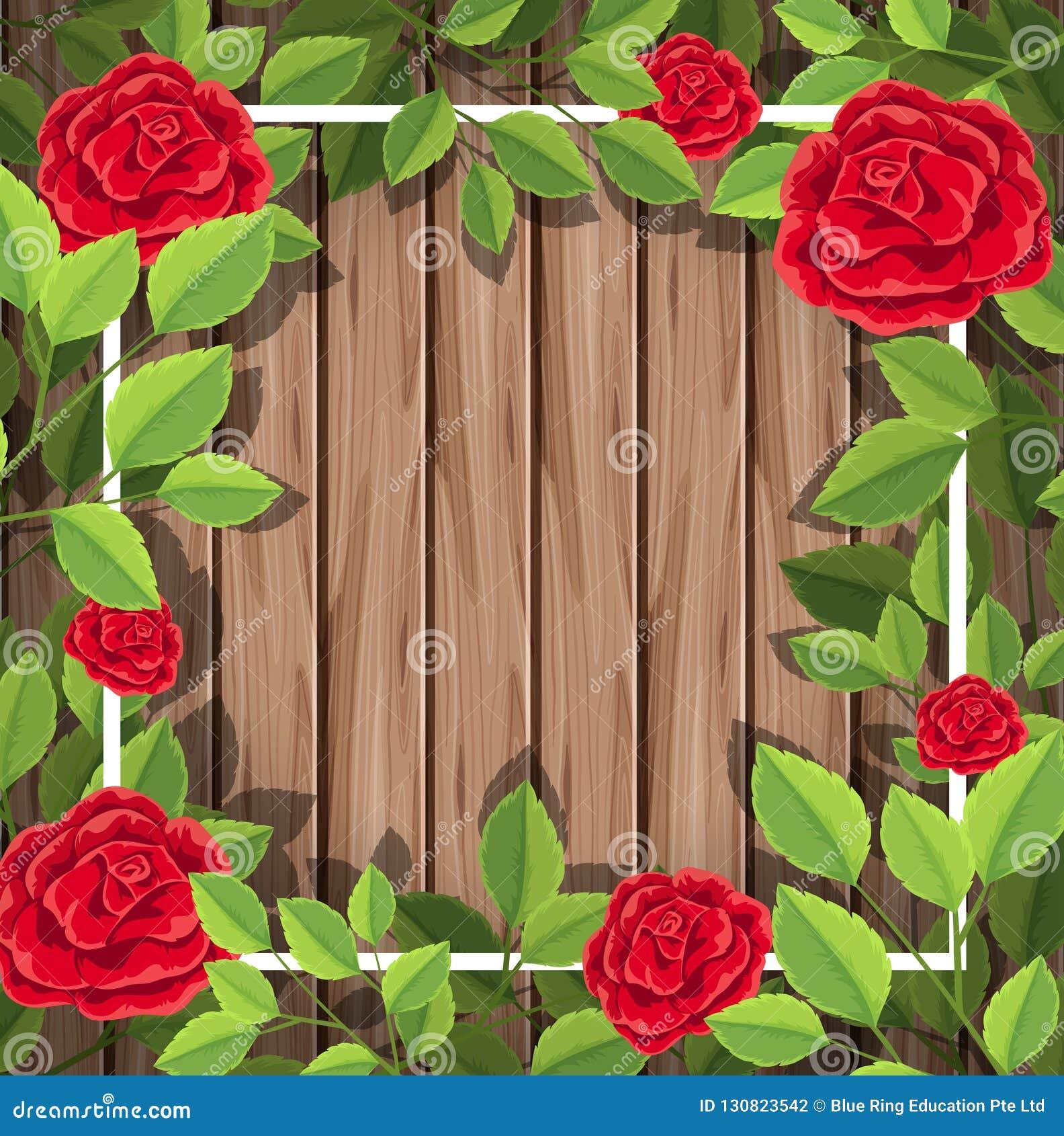 Röda rosor på träbakgrund