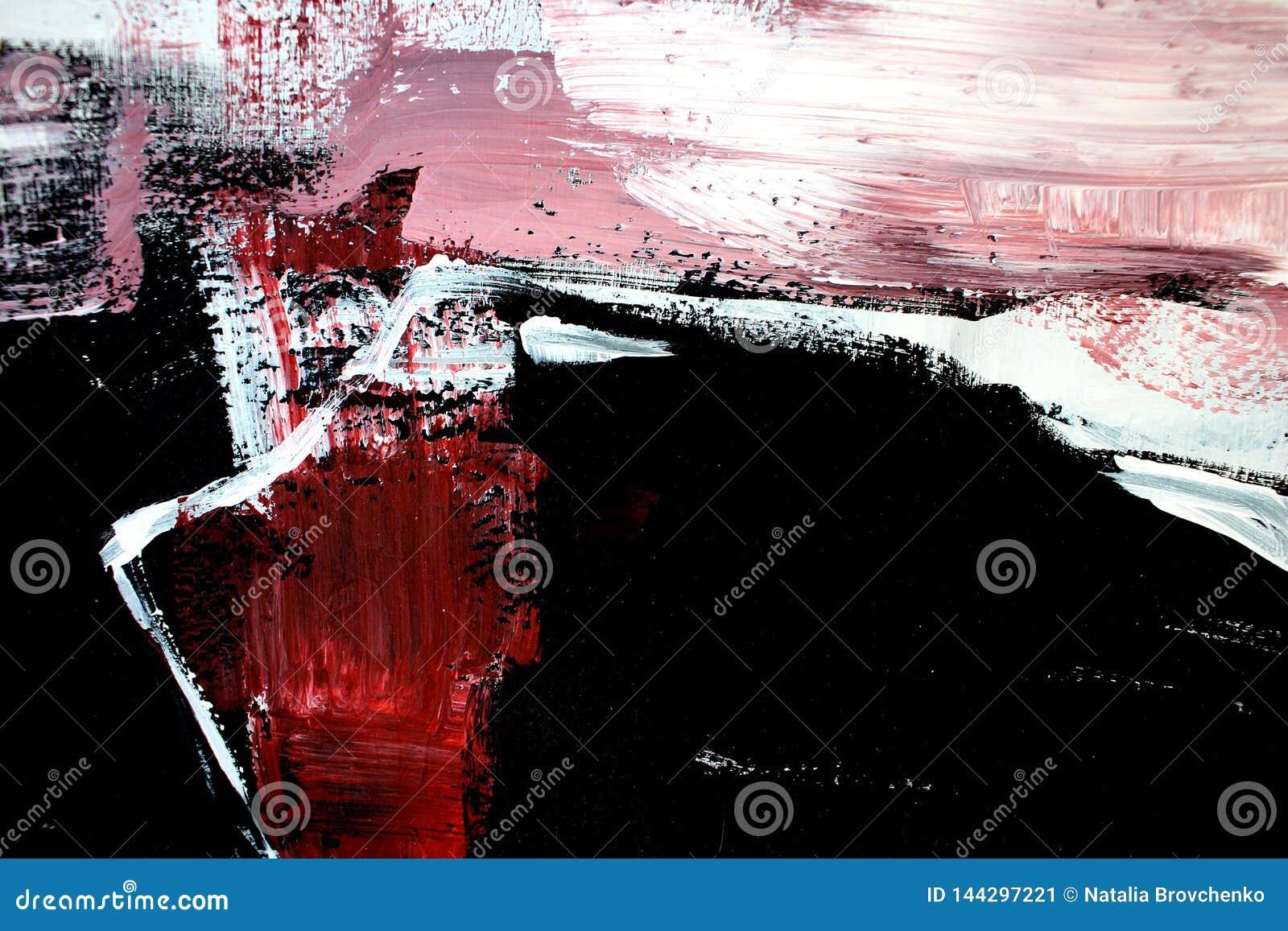 Röda svarta färger på kanfas abstrakt konstbakgrund Färgtextur Fragment av konstverk abstrakt kanfasmålning