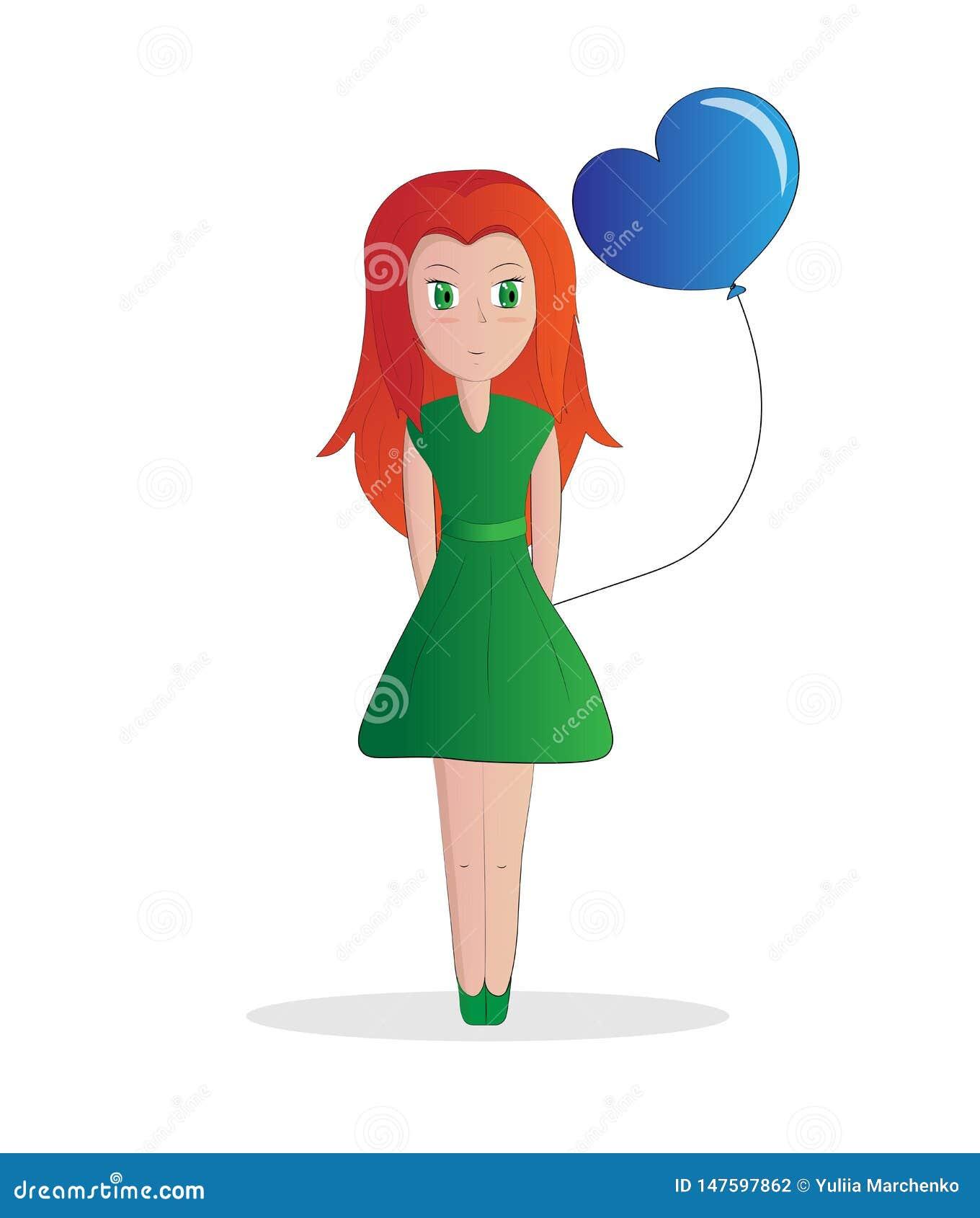 Rödhårig flicka och boll