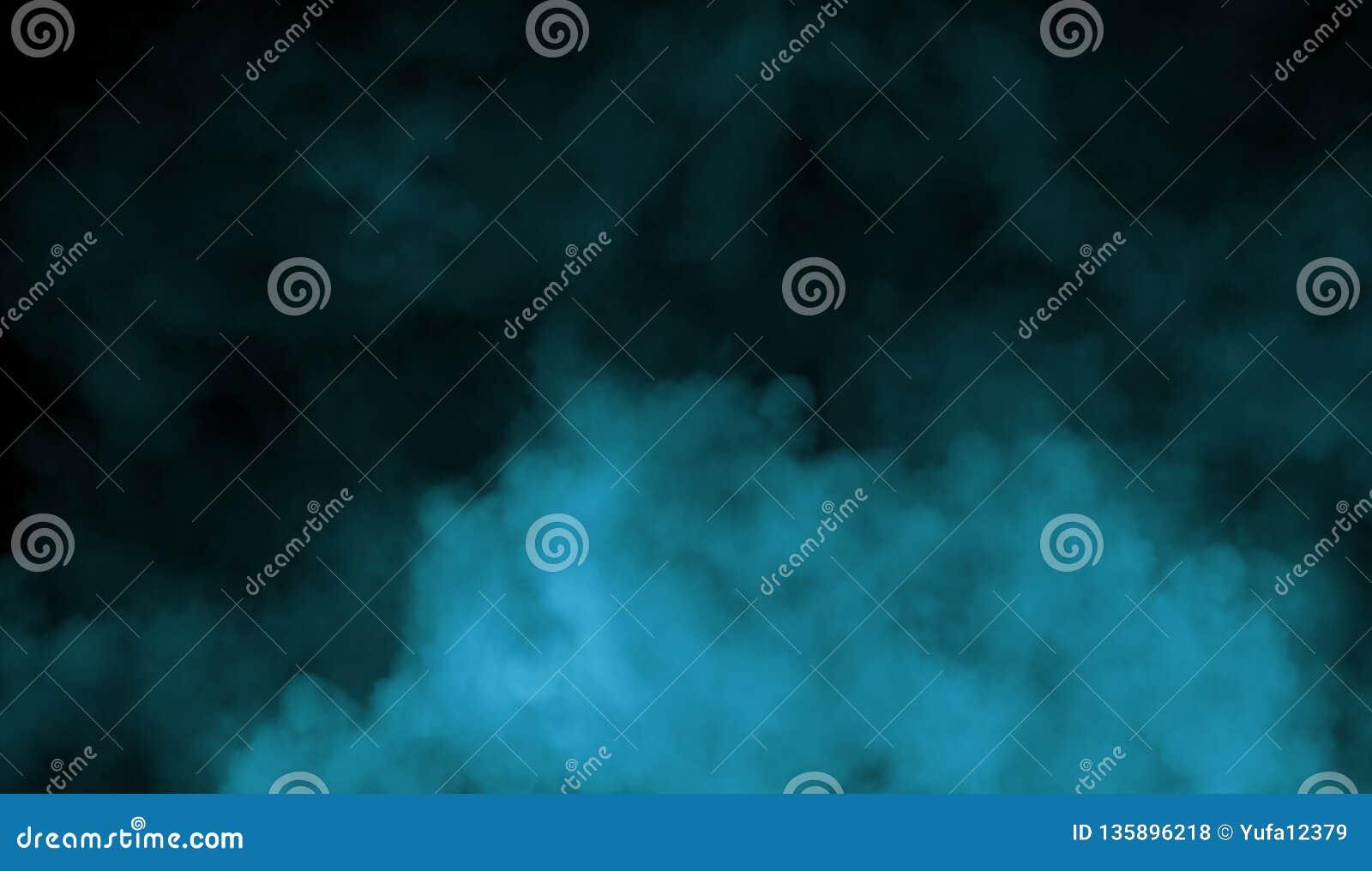 Rök på golvet Isolerad svart bakgrund Abstrakt blå rökmistdimma på en svart bakgrund textur vektor för bild för designelementillu