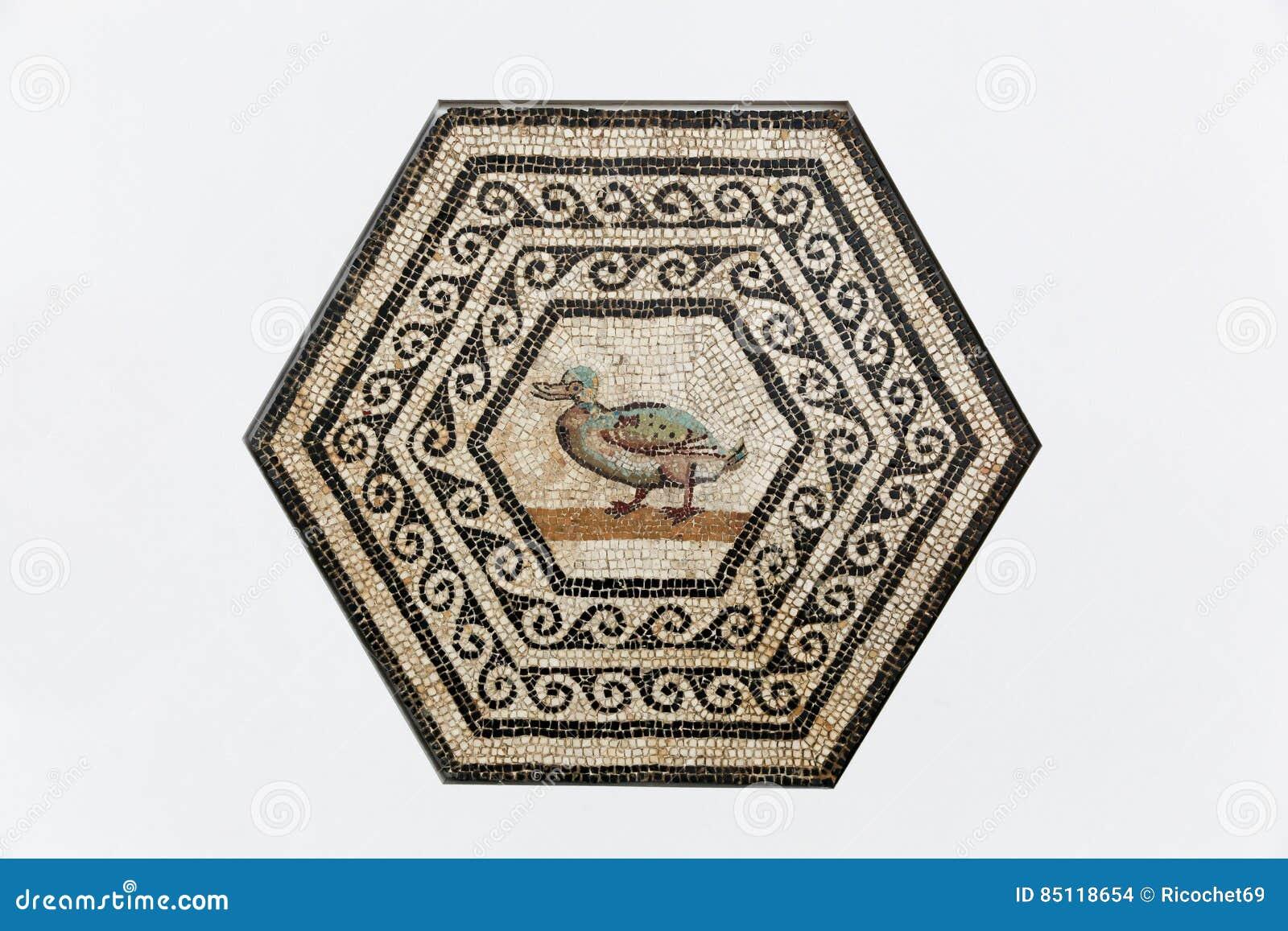 Römisches Mosaik Gallo auf einer Wand in Heiliges Romain-en Gallone