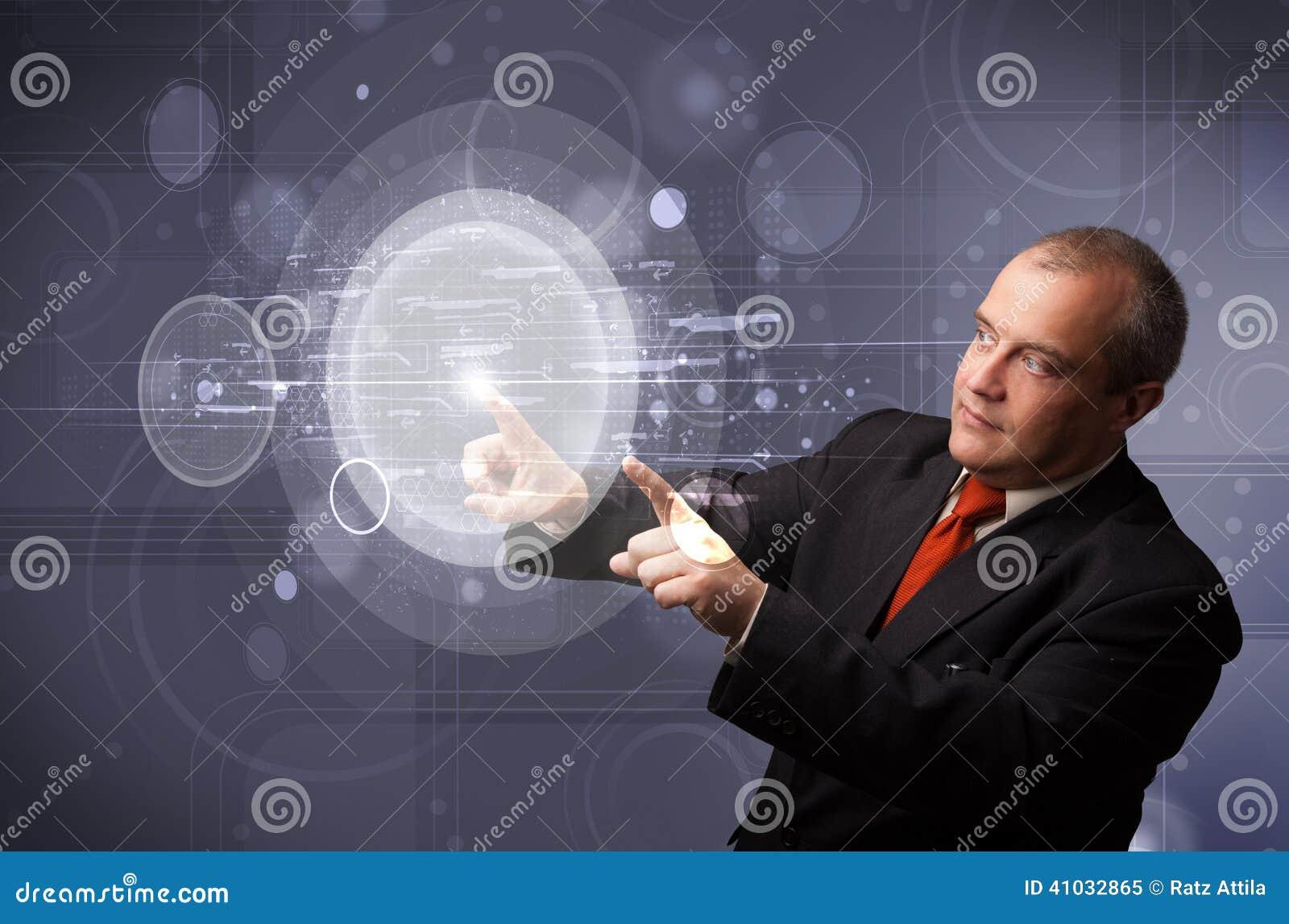 Röra abstrakt kick för affärsman - teknologicirkuläret knäppas