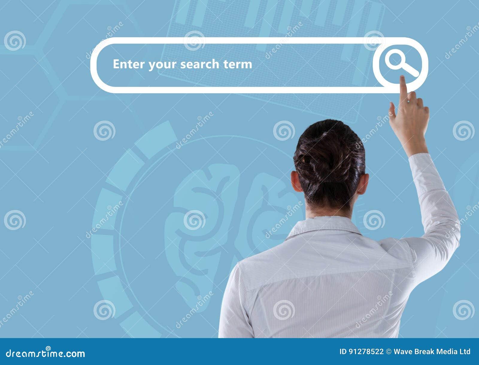 Rörande sökandestång för kvinna med blå hjärnbakgrund