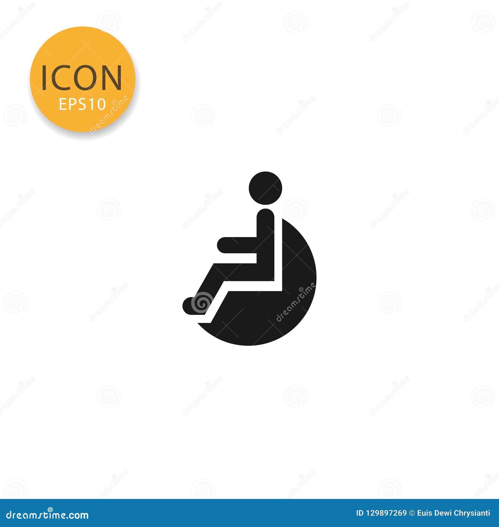 Rörelsehindrad isolerad plan stil för handikapp symbol