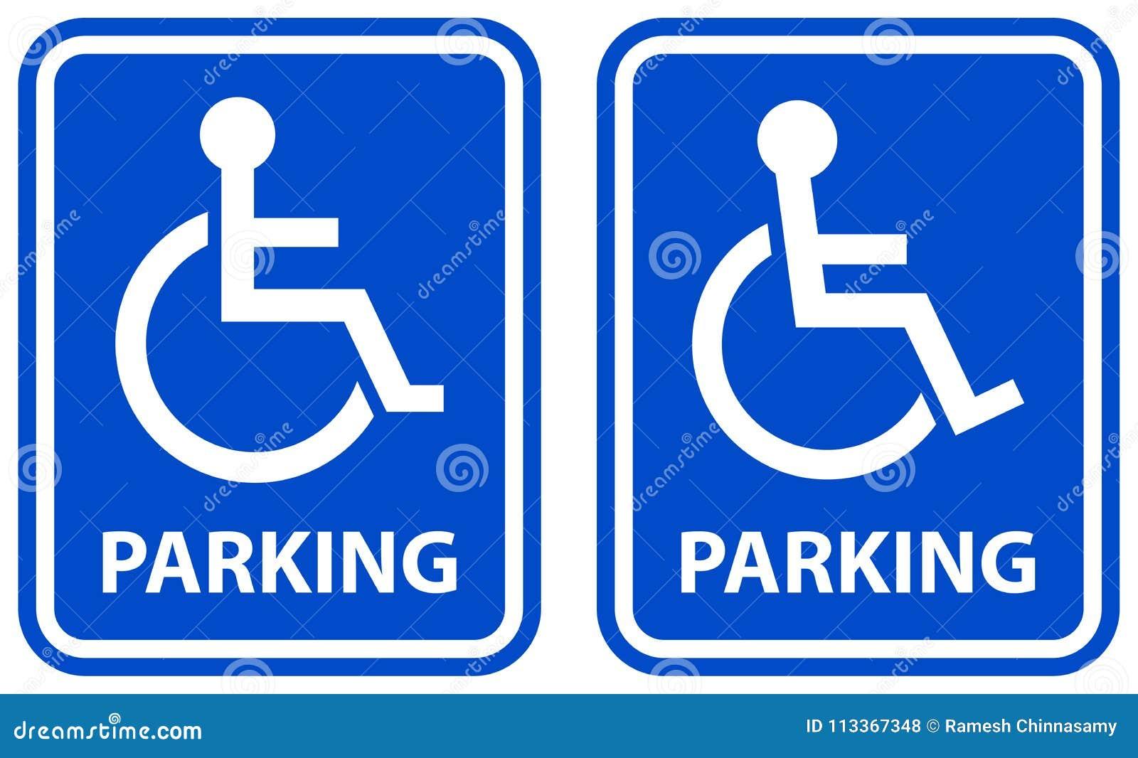 Rörelsehindrade symboler för färg för parkeringsteckenblått