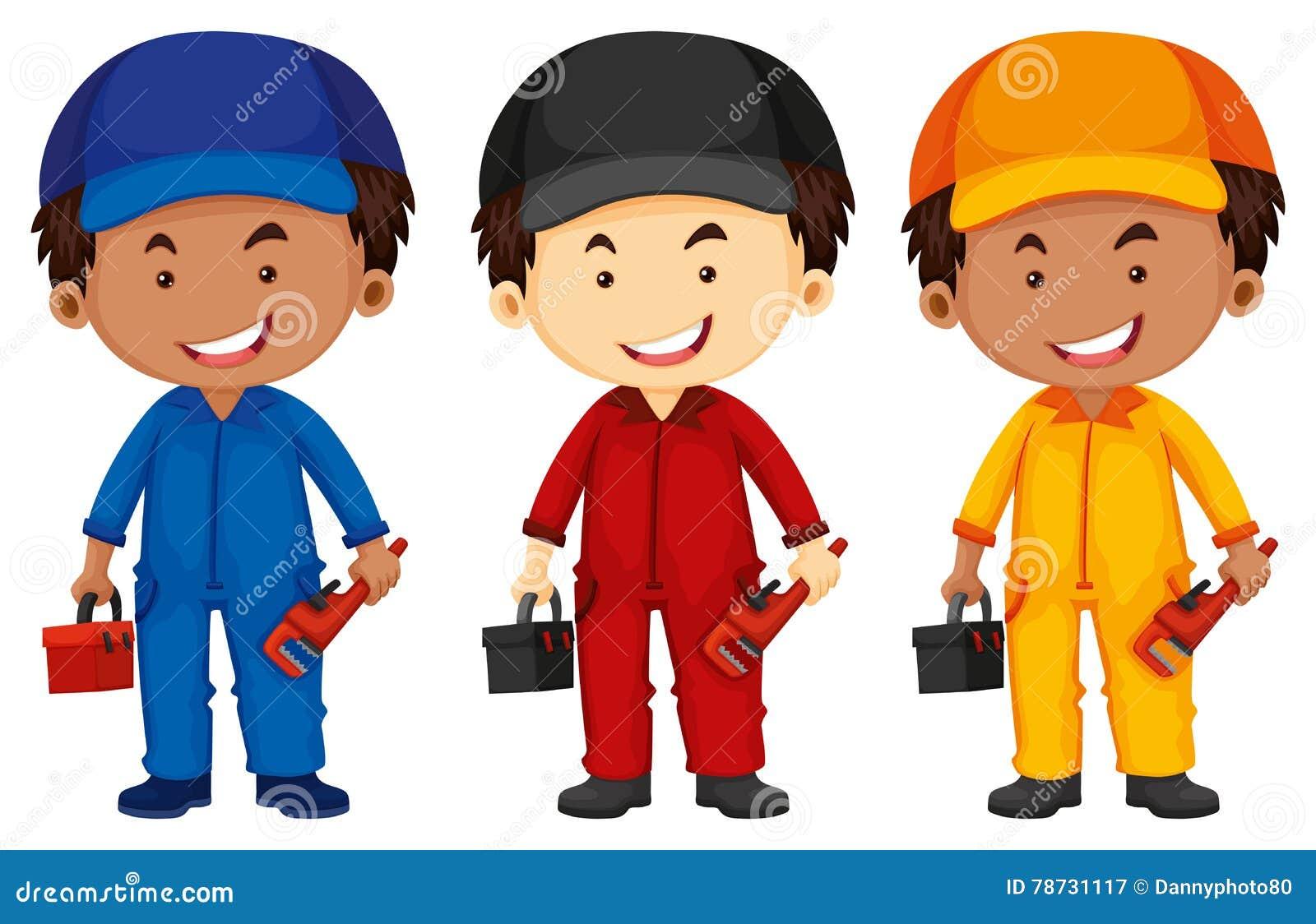 Rörmokare som bär den olika färgdräkten