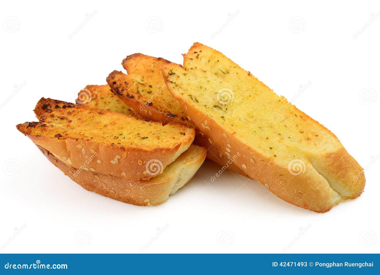 Rösten Sie Brotscheiben in den Streifen im Metalltopf