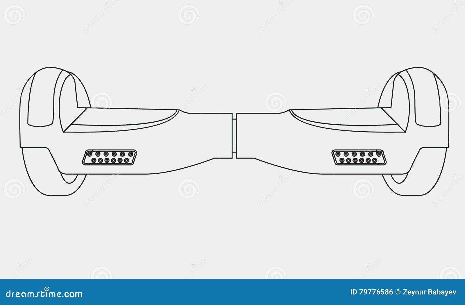 Rött för hjulsjälv för elkraft två bräde för jämvikt Vektor Hoverboard