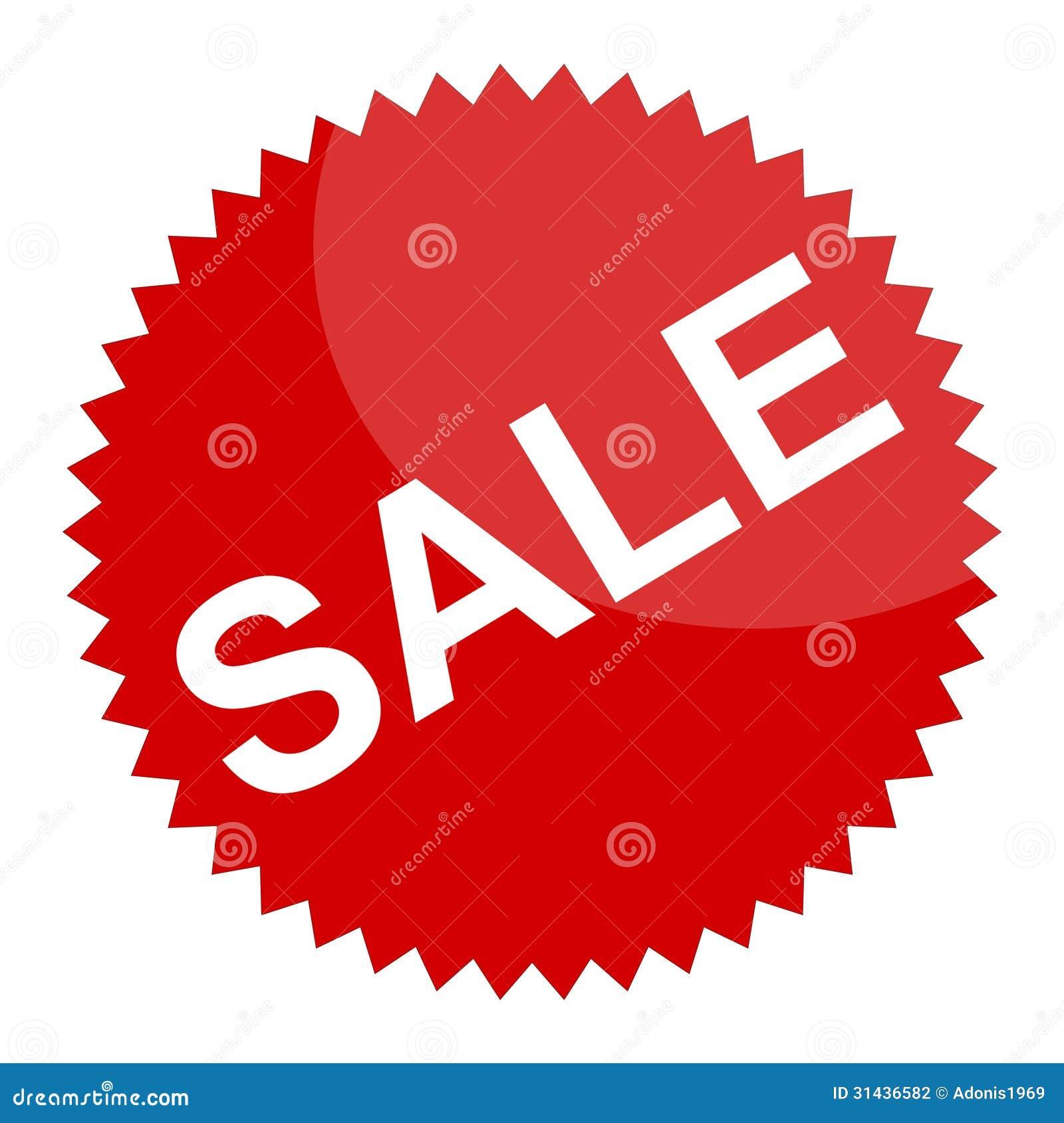 Rött försäljningstecken eller klistermärke