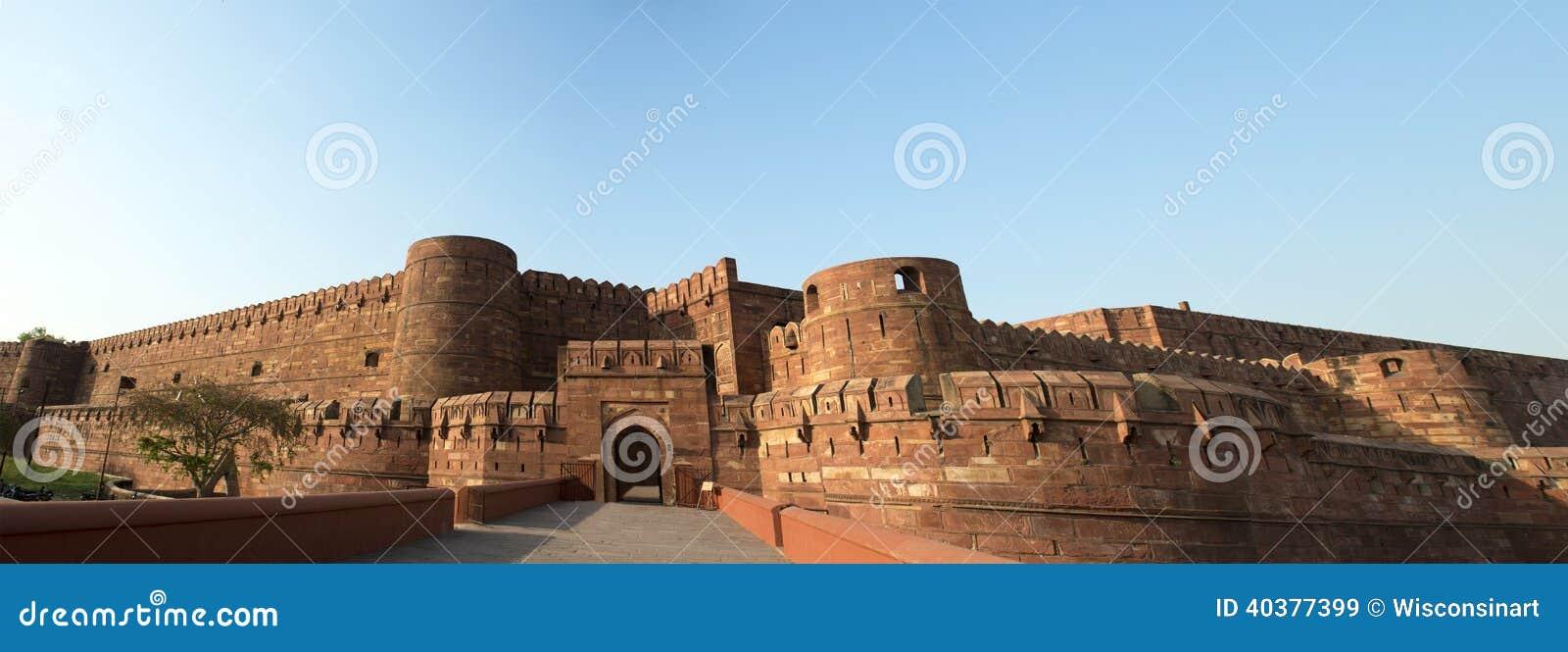 Rött fort i Agra, Indien panorama, lopp till Asien