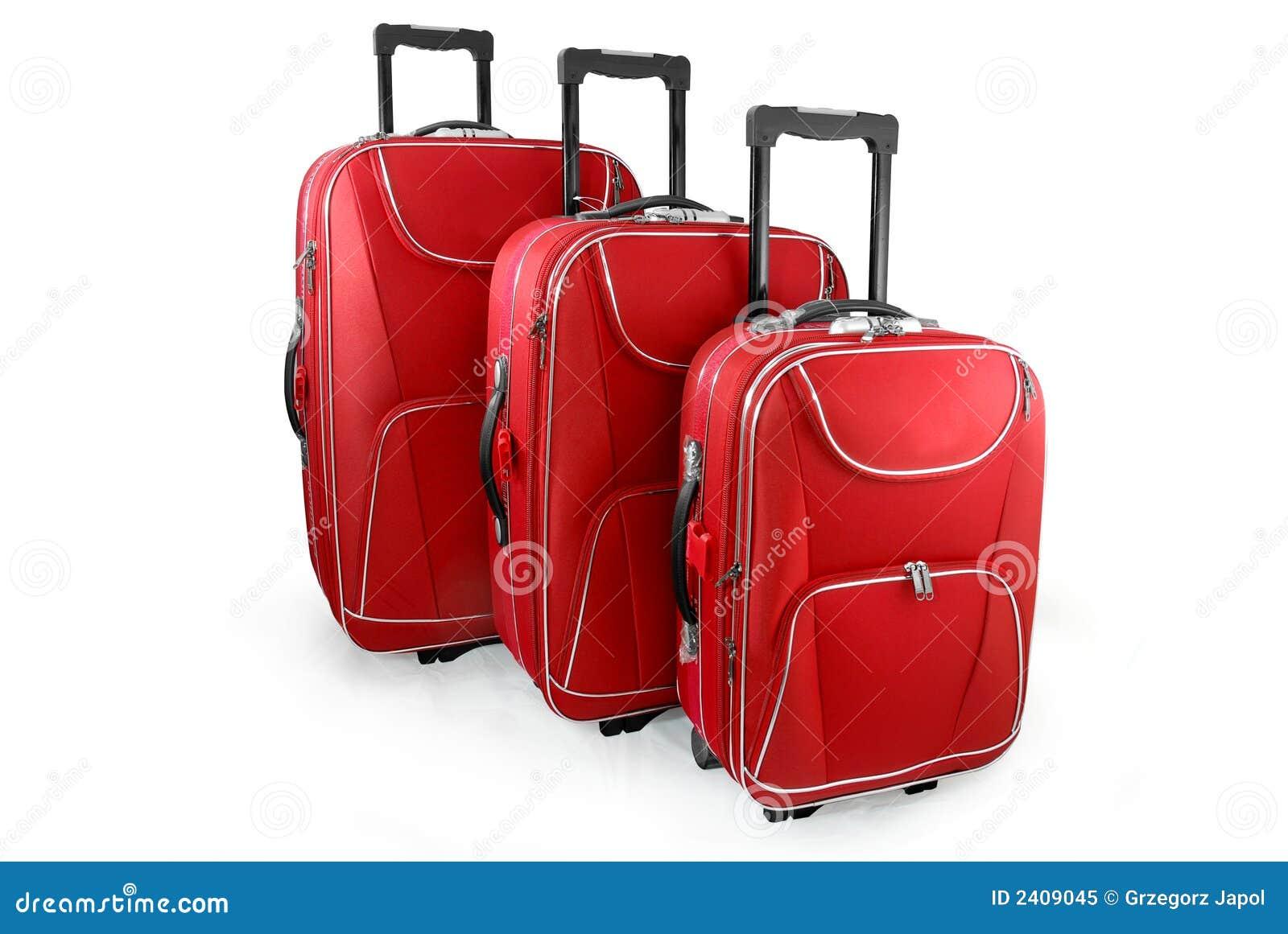Rött lopp för resväskor tre