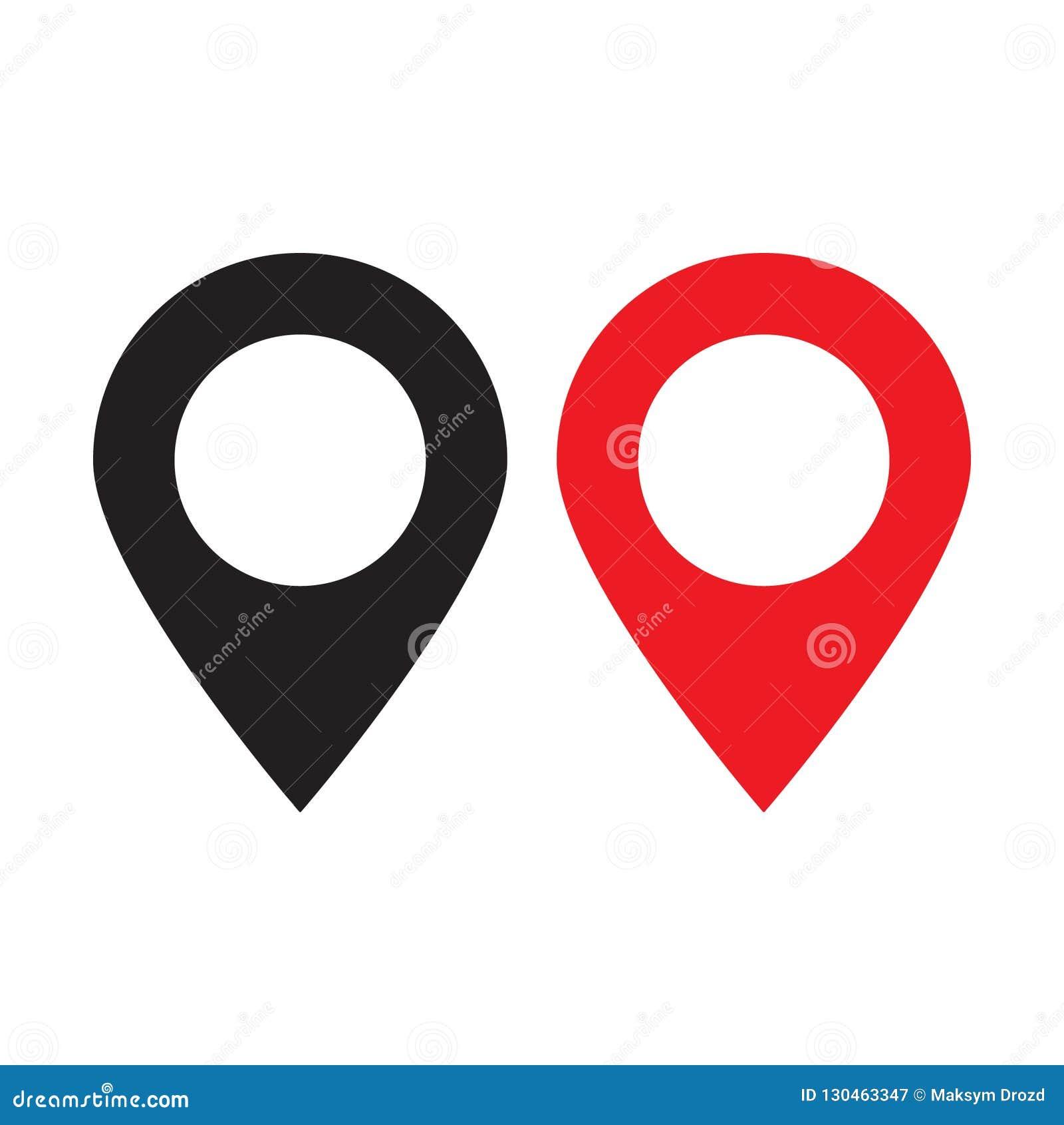 Rött och svart översiktsstift Symbol för lägeöversikt Lägestift