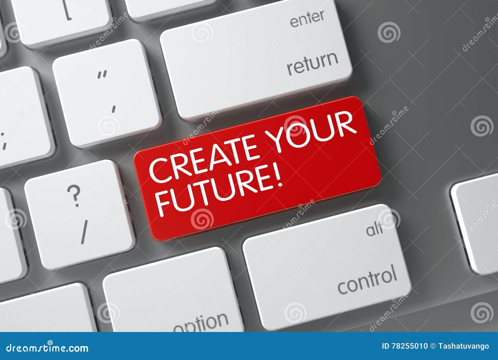 Rött skapa din framtida tangent på tangentbordet 3d