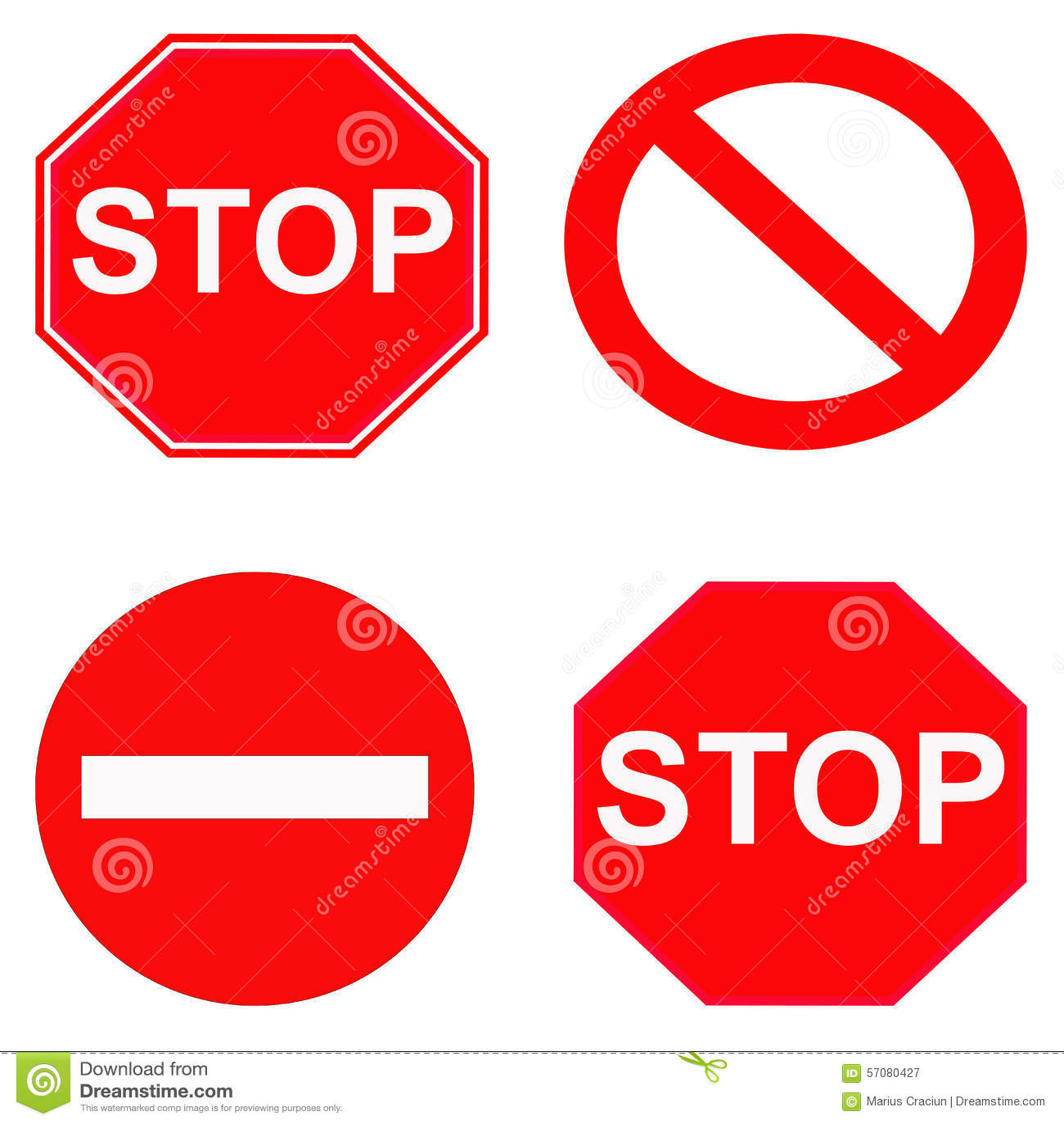 Rött stopp och förbjudet tecken