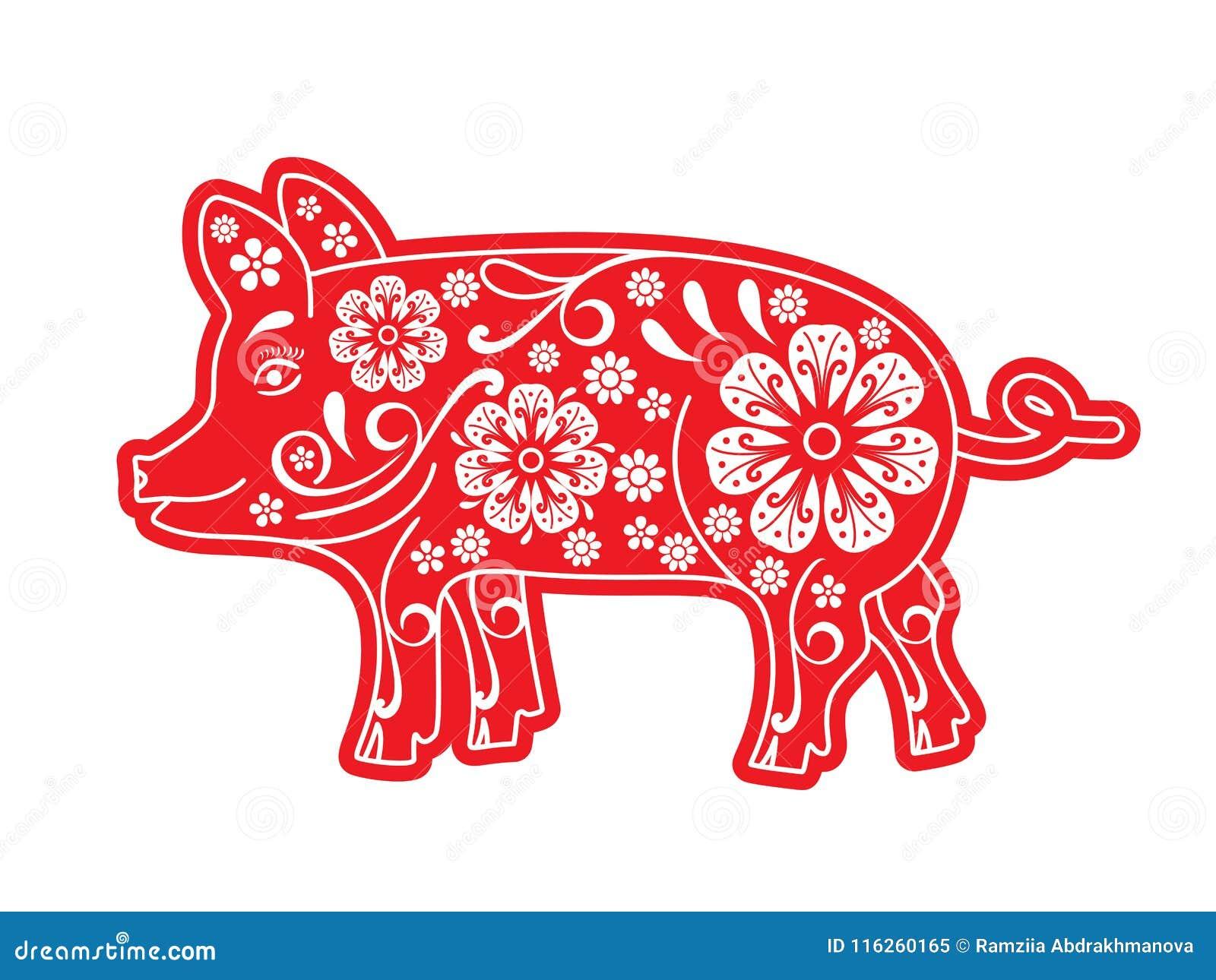 Rött svin, snittpapper, origami, blommor, prydnad Spädgrisen är ett symbol av det kinesiska nya året 2019, 2031 horoskop