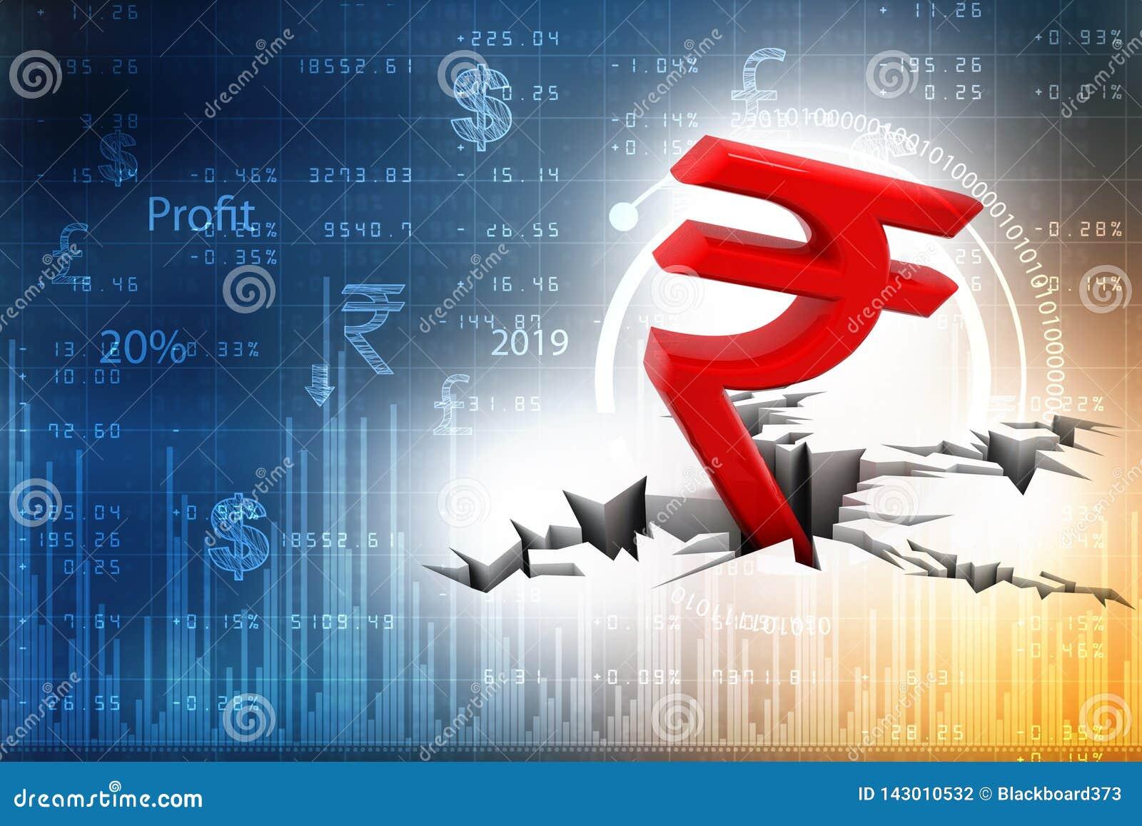 Rött symbol för indisk rupie ner som ska grundas, krisbegrepp för indisk rupie framförande 3d på vit bakgrund