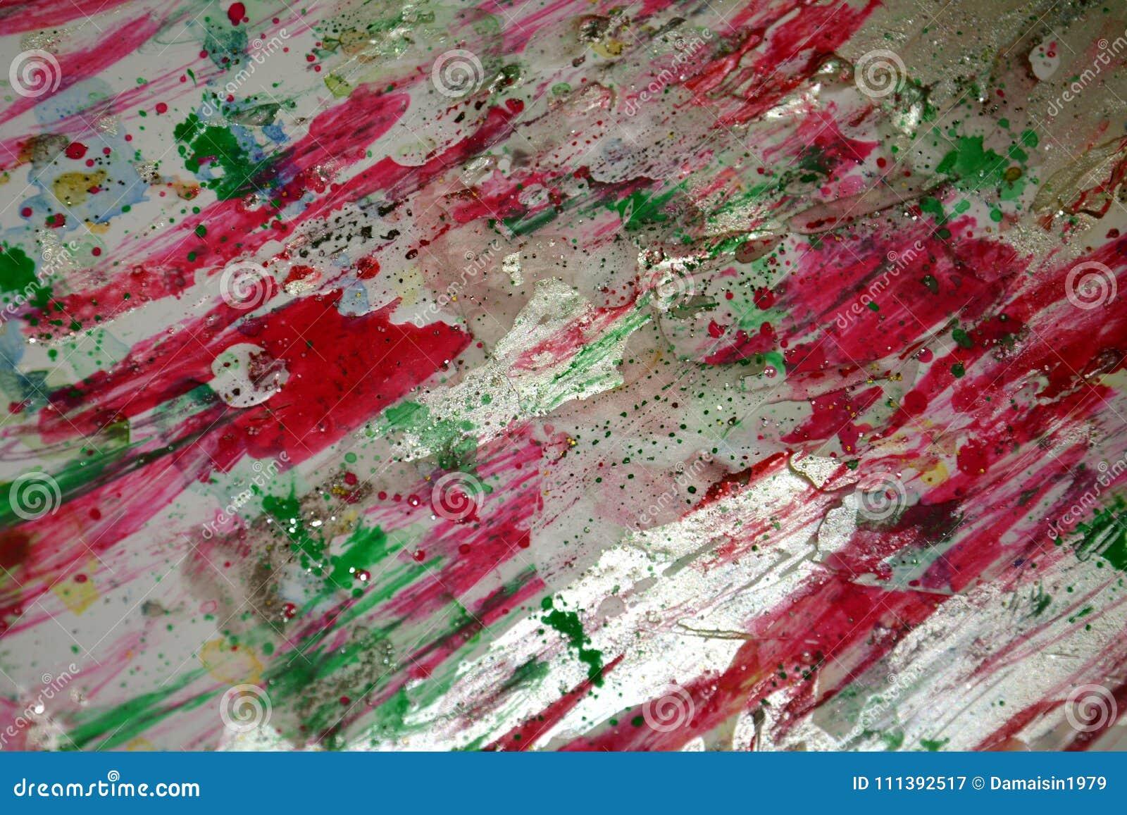 Rött violett ljust - grön silvrig mousserande bakgrund, färgrika livliga vaxartade färger, kontrasterar idérik bakgrund
