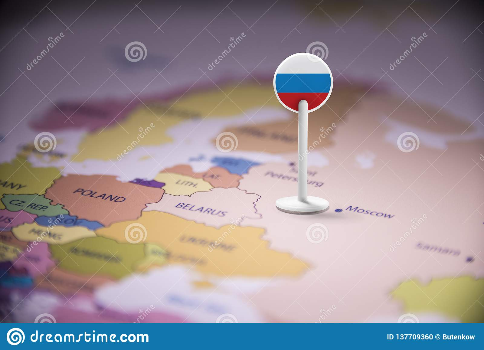 Rússia identificou por meio de uma bandeira no mapa