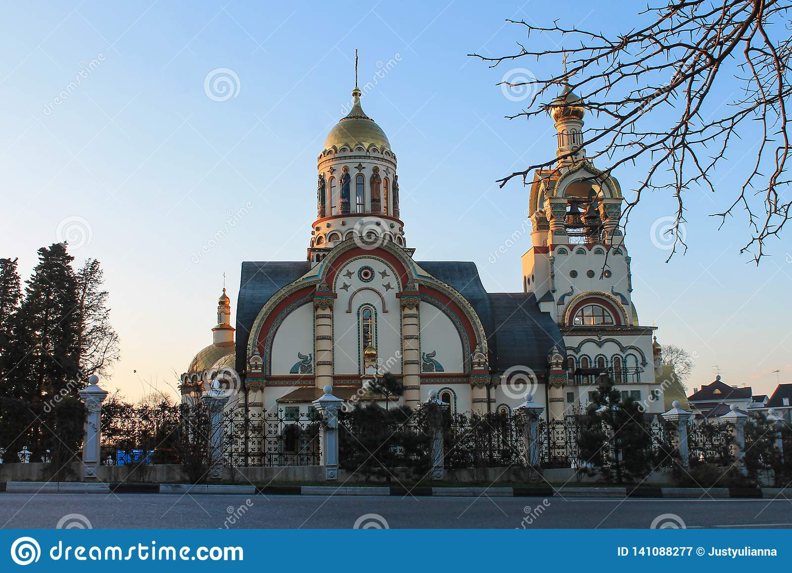 Rússia, Sochi, 25, em janeiro de 2015: A igreja de St Vladimir
