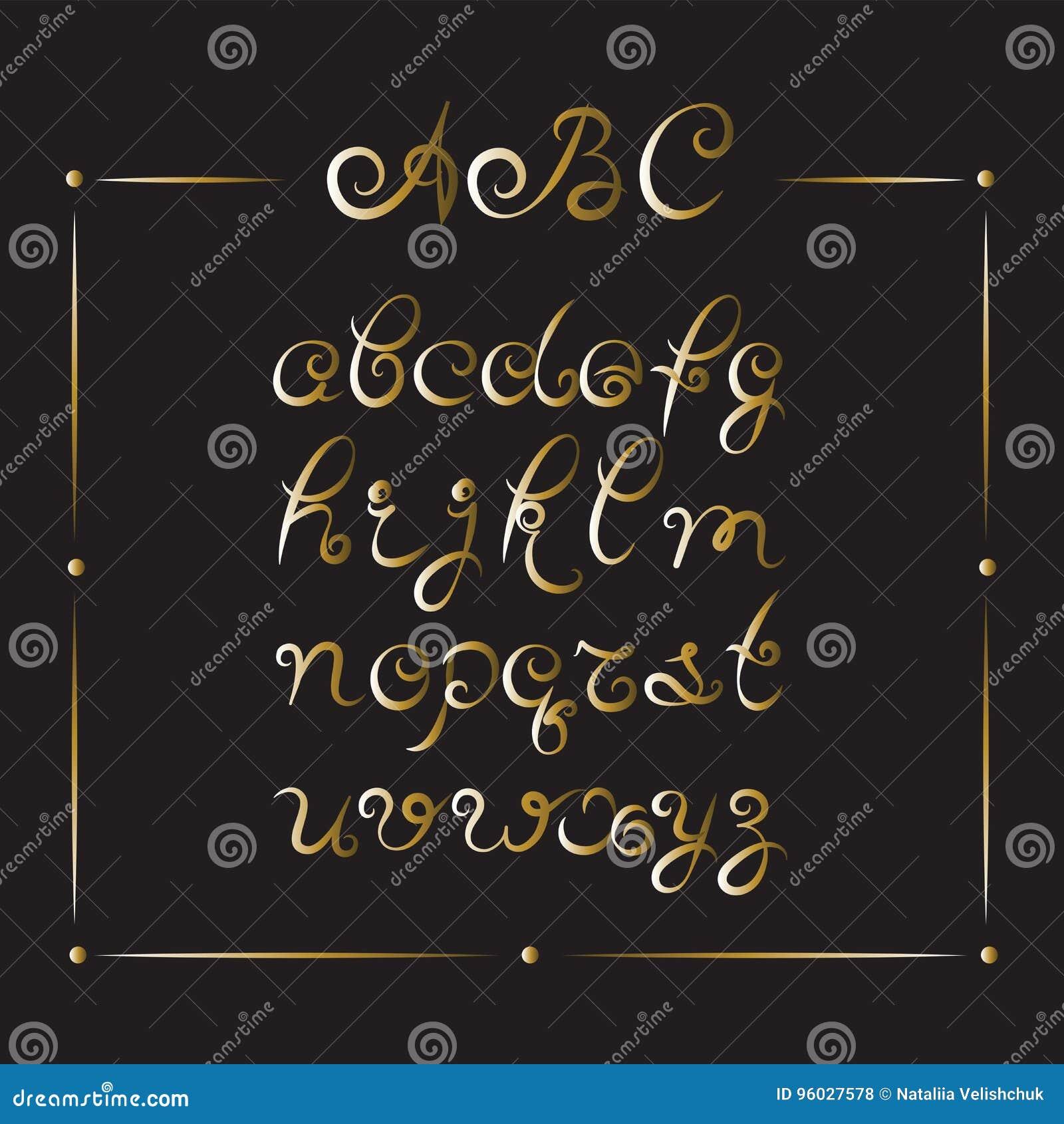 Ręcznie pisany chrzcielnica Złoci abecadło listy