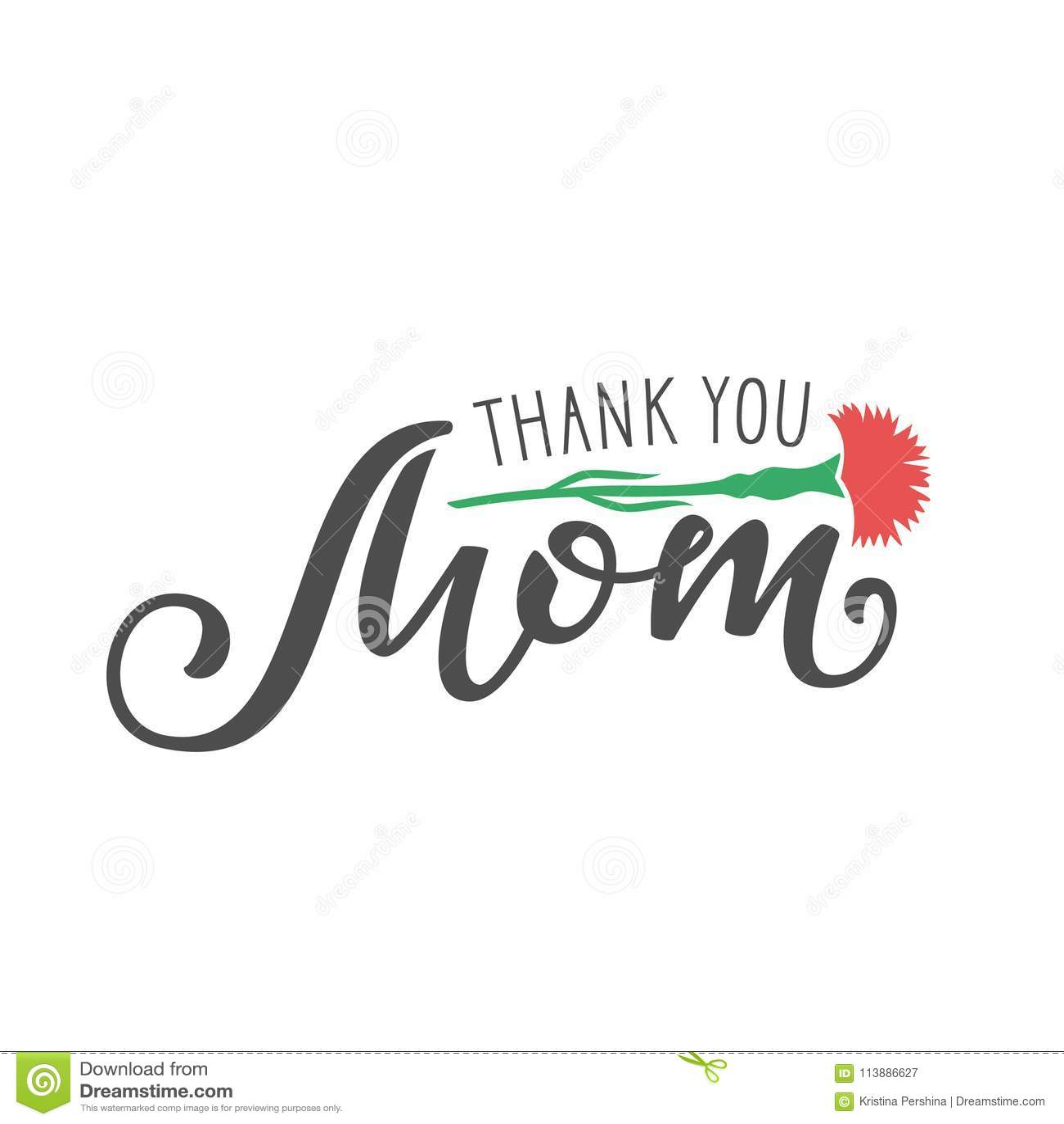Ręcznie pisany literowanie Dziękować Ty mama na białym tle