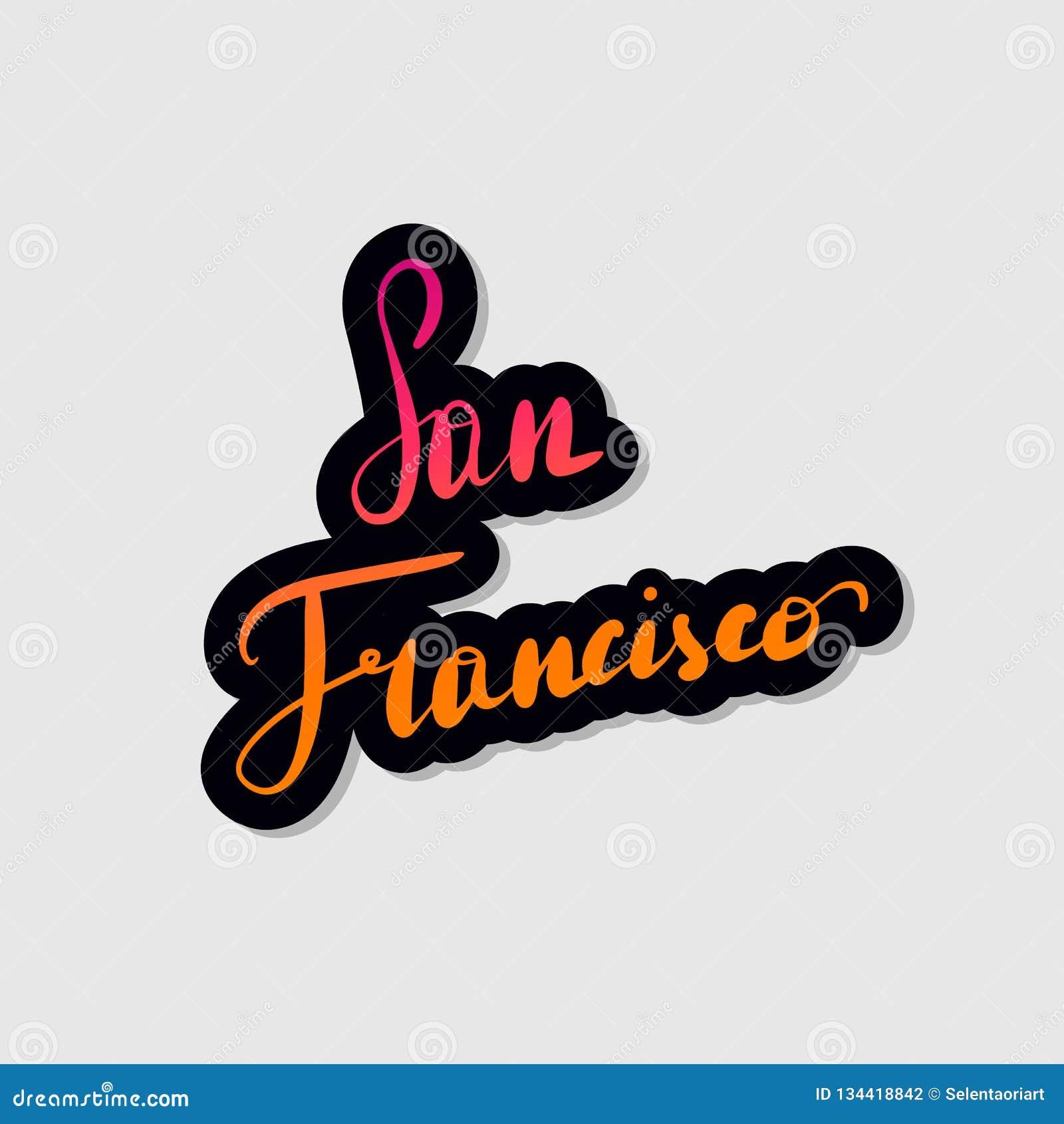 Ręcznie pisany literowanie typografia San Francisco