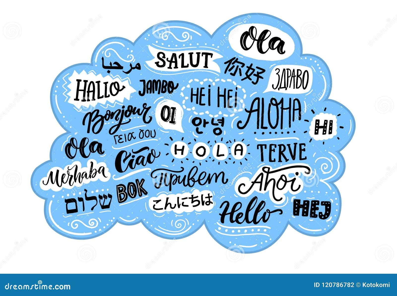 Ręcznie Pisany Słowo W Różnych Językach Cześć Francuski Bonjur I