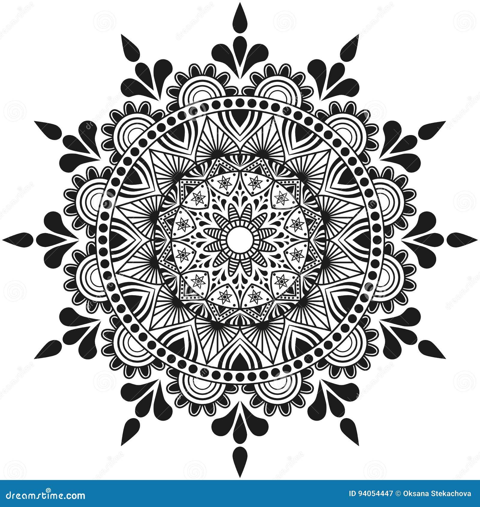 Ręcznie robiony kwiatów mandala, indyjskiego i arabskiego ornament,