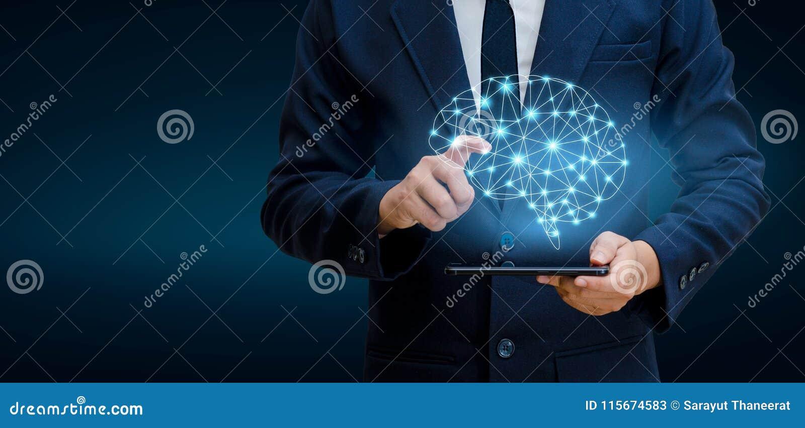 Ręk ludzie biznesu naciskają telefon Móżdżkowa Graficzna Binarna Błękitna technologia