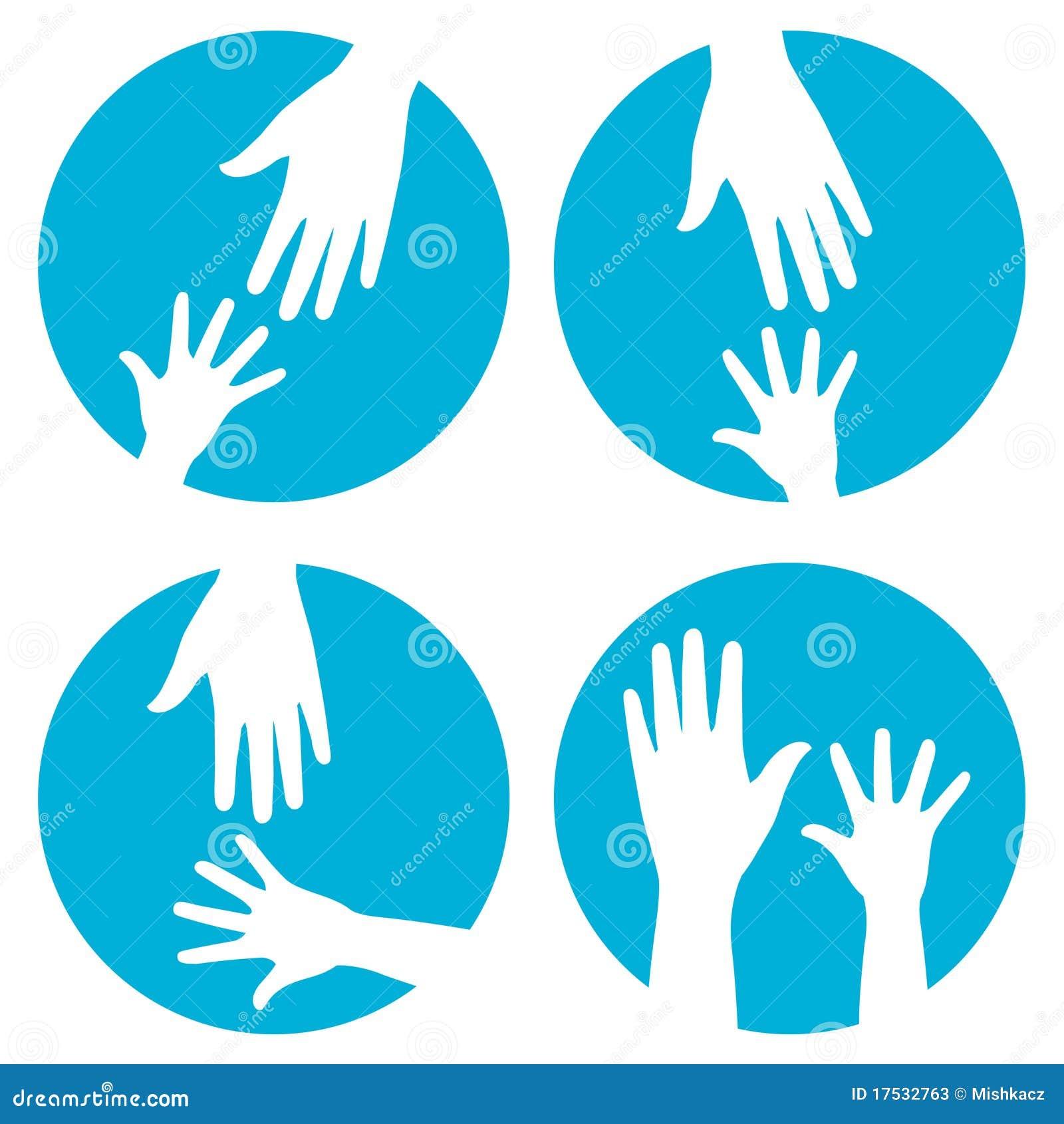 Ręk pomoc ikony set