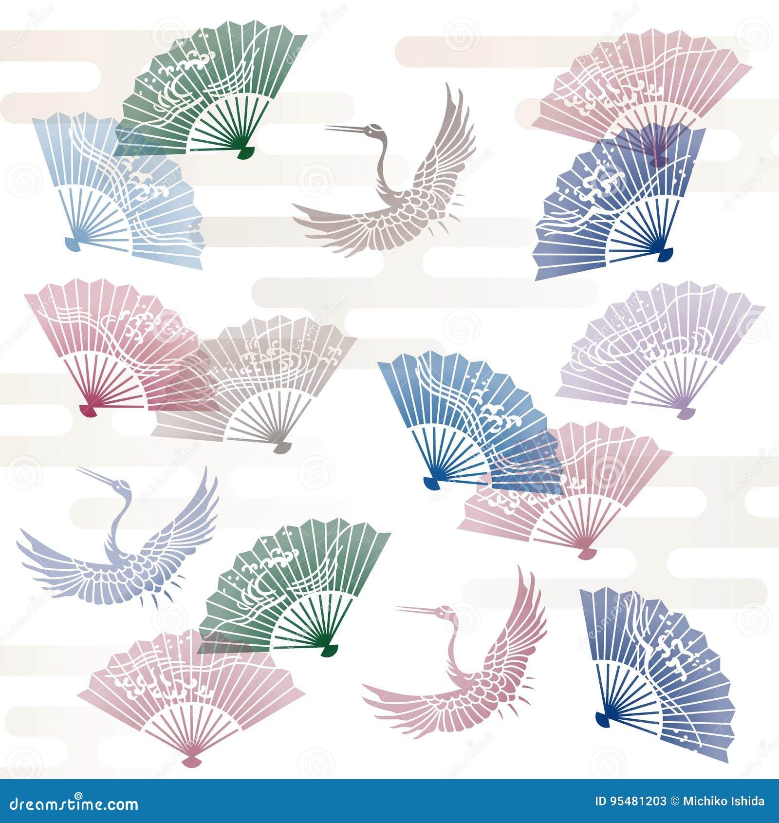 Ręka żurawia i fan Japoński tradycyjny wzór