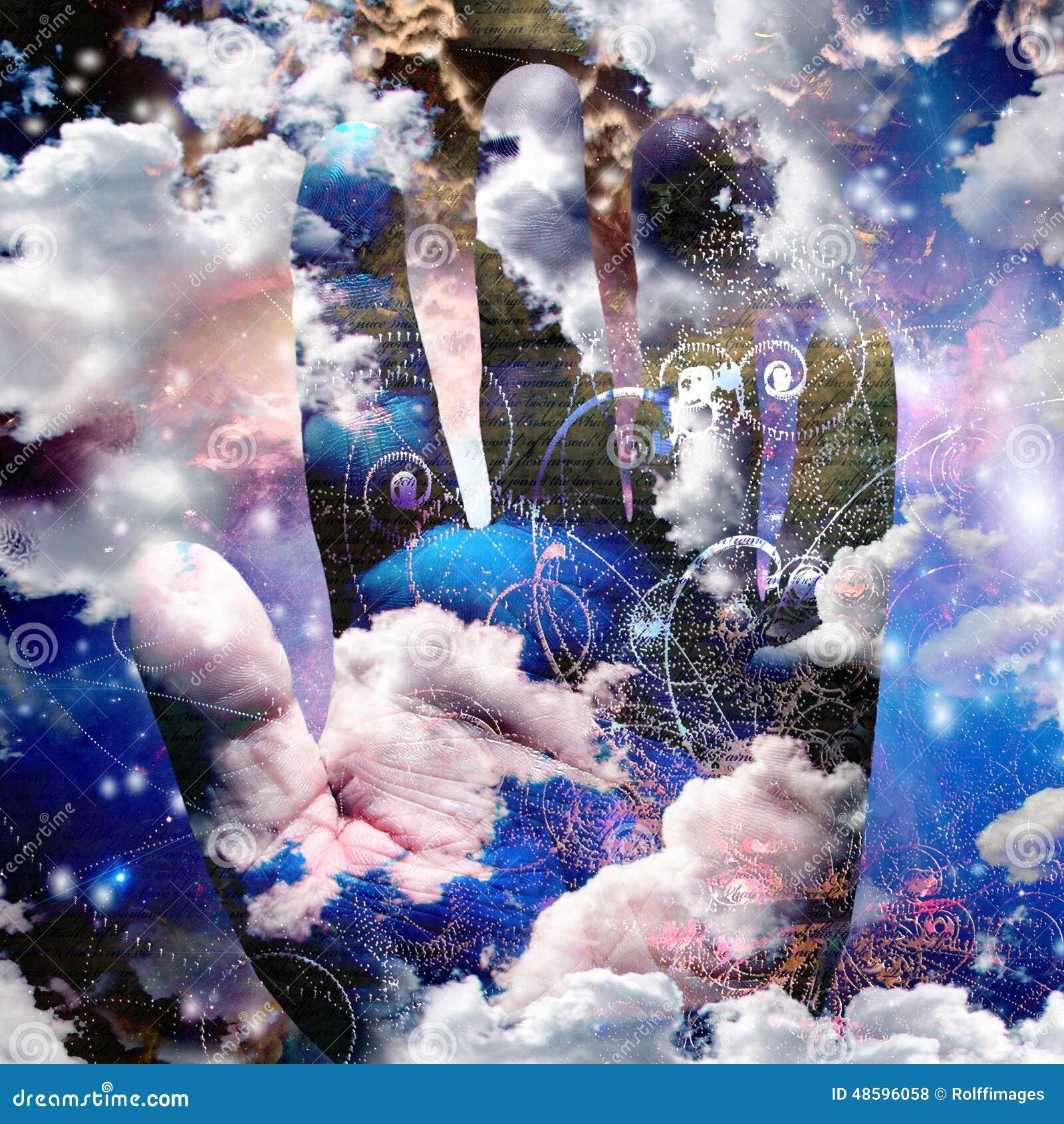 Ręka abstrakt z chmurami