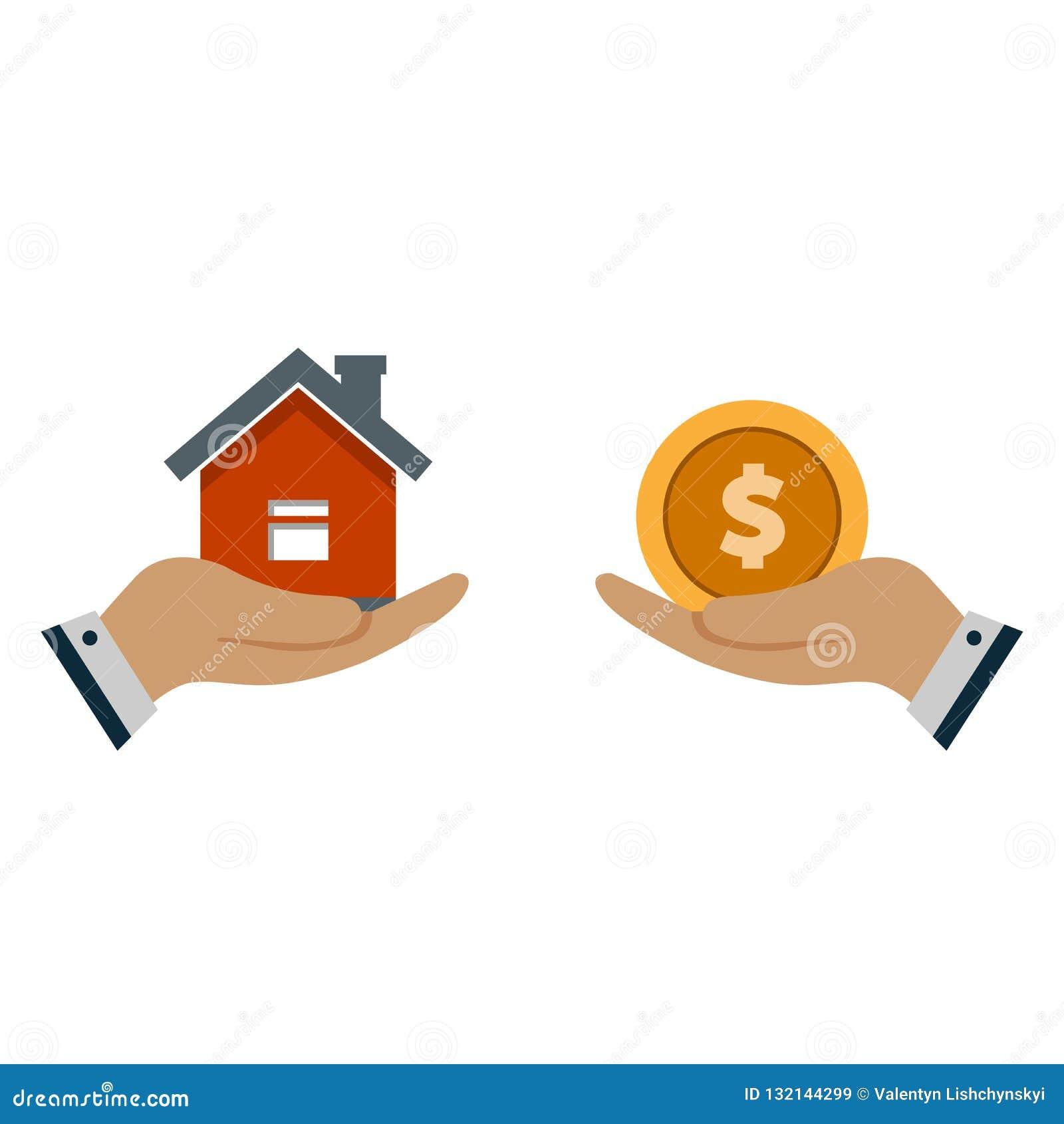 Ręka agent z domem w palmie twój ręka Wymiana dom dla pieniądze Propozycja kupować dom, dzierżawi nieruchomość