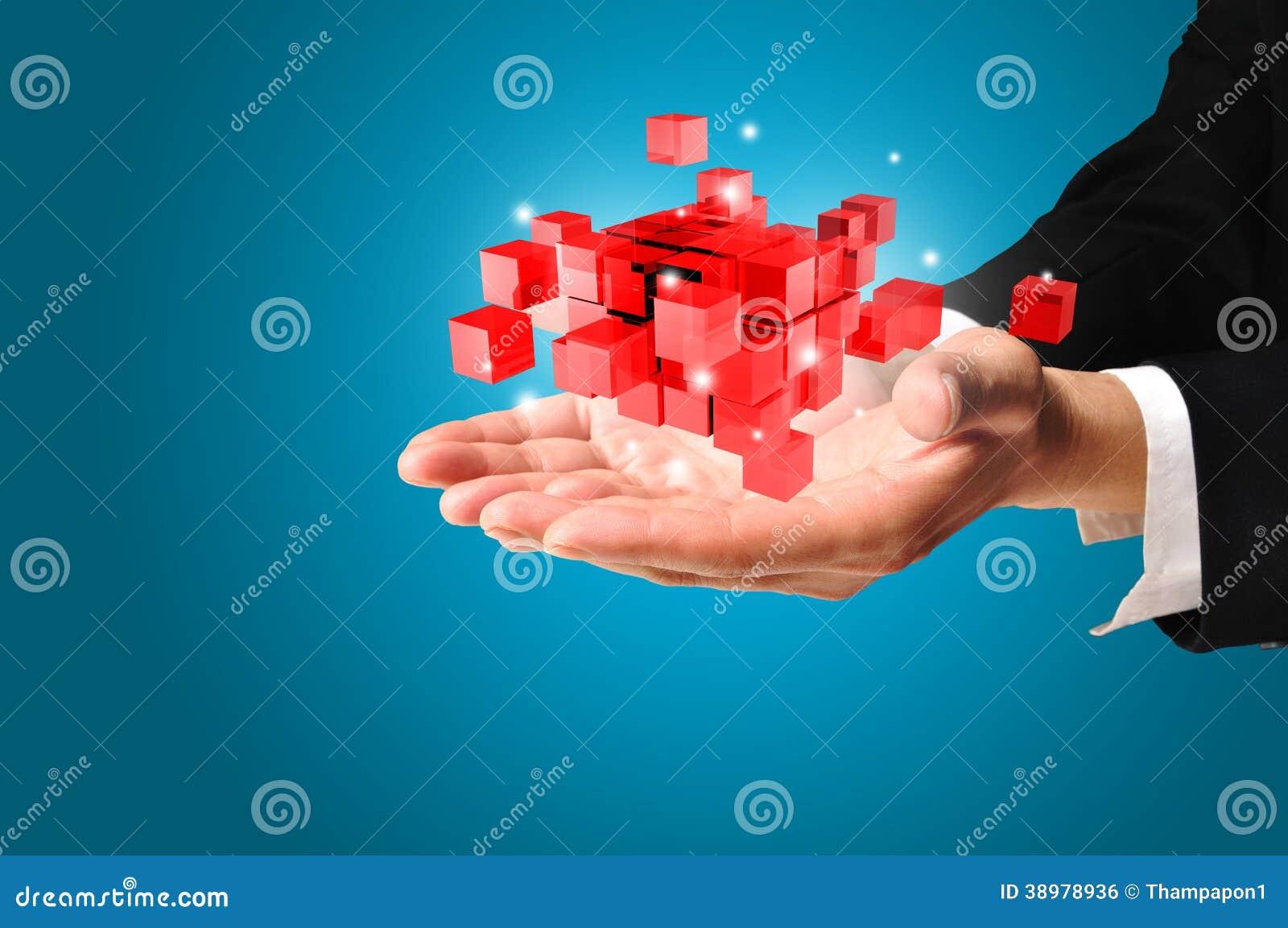 Ręka Biznesowego mężczyzna chwyt kubiczny