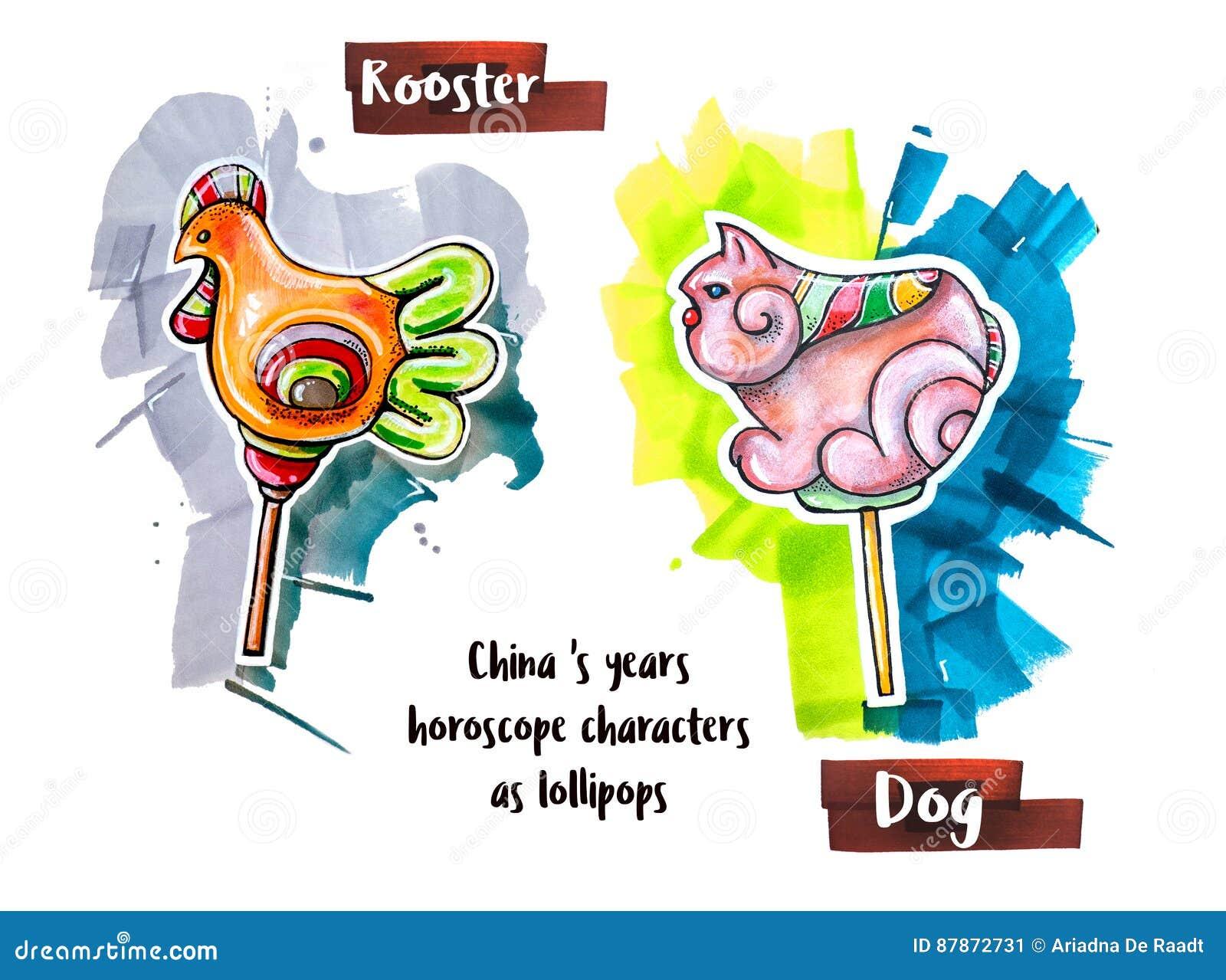 Ręka horoskopu rysunkowy zwierzę jako lizaki
